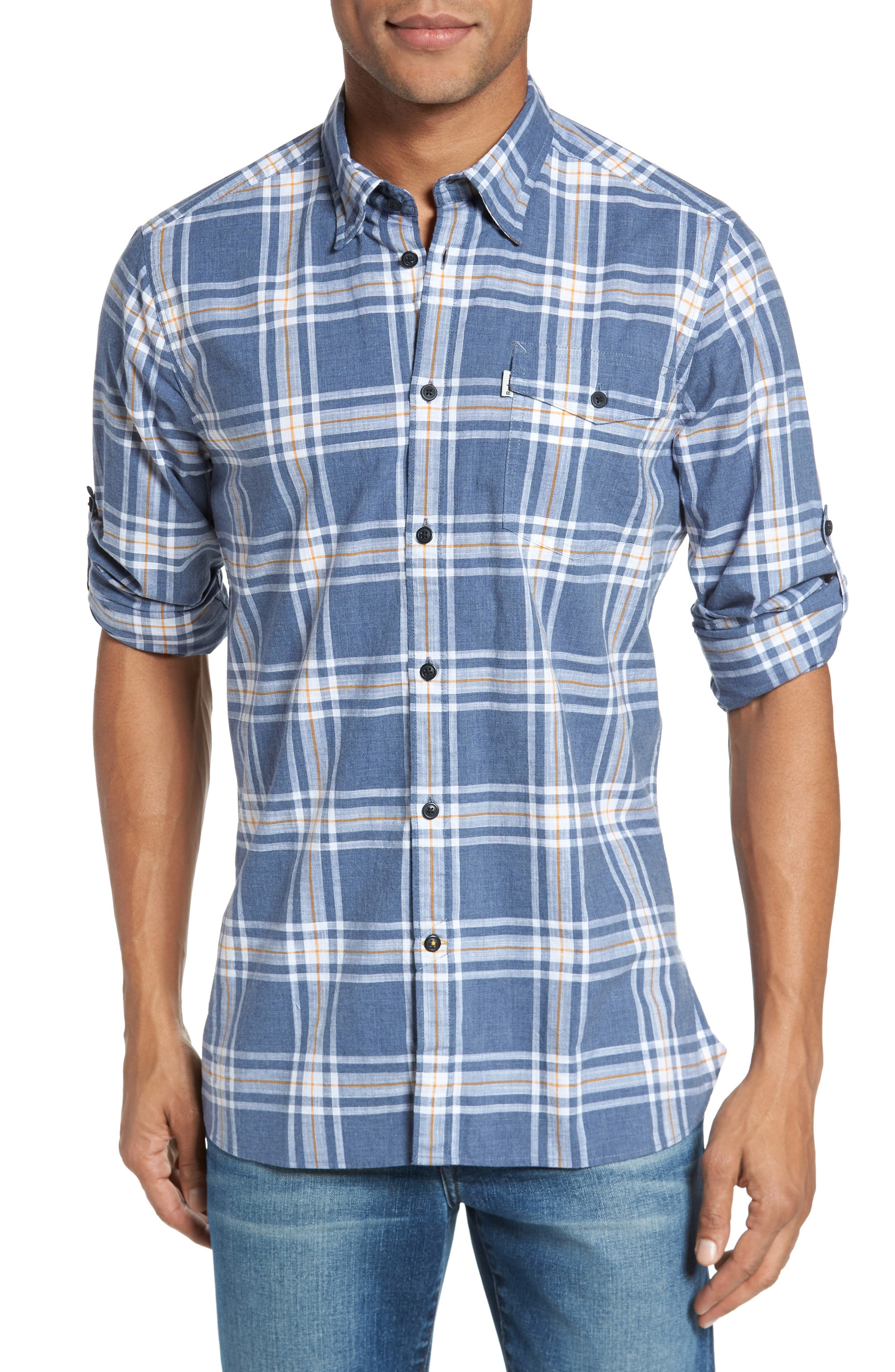 Elver Tailored Fit Plaid Sport Shirt,                         Main,                         color, Navy