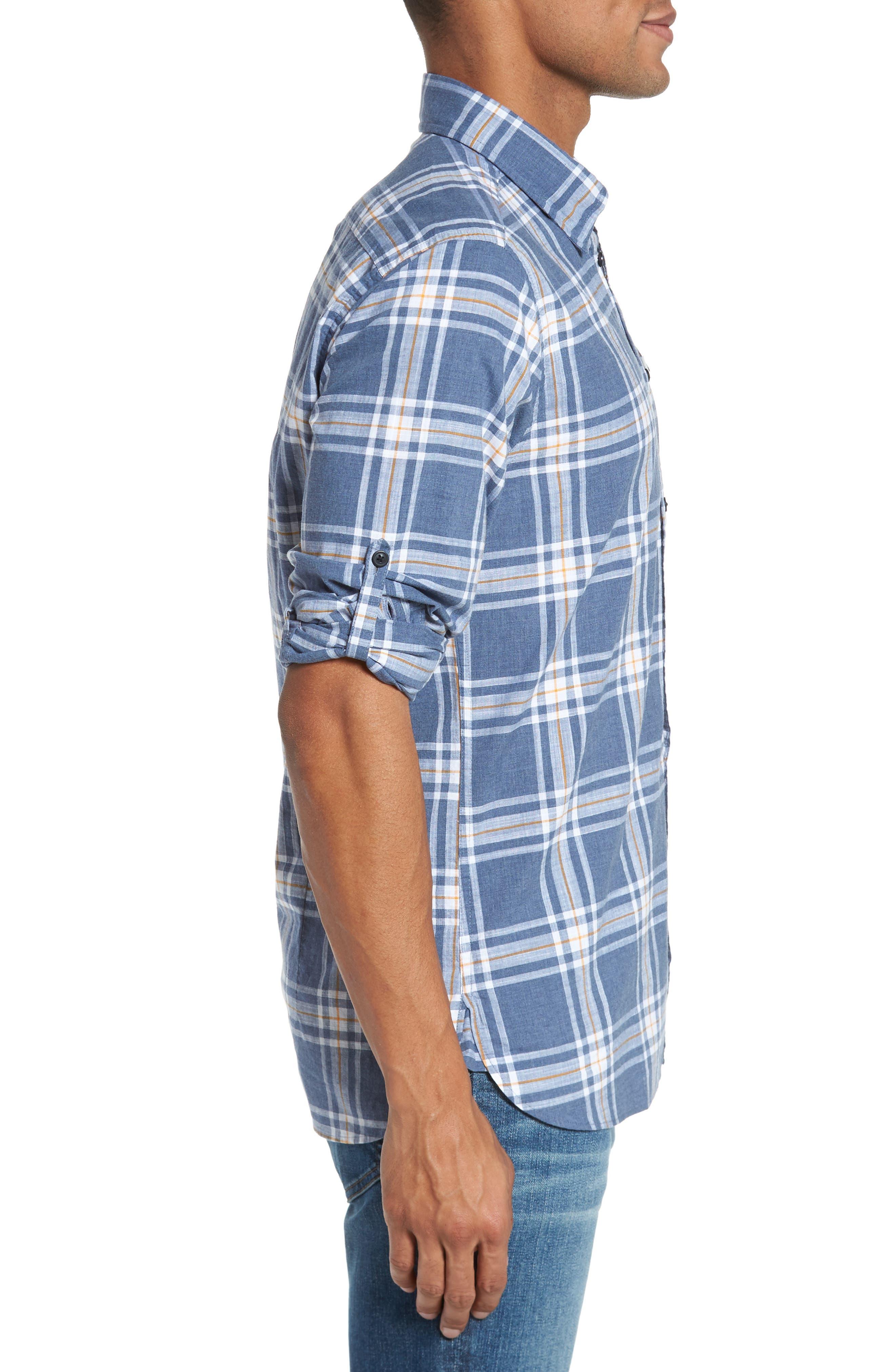Elver Tailored Fit Plaid Sport Shirt,                             Alternate thumbnail 3, color,                             Navy