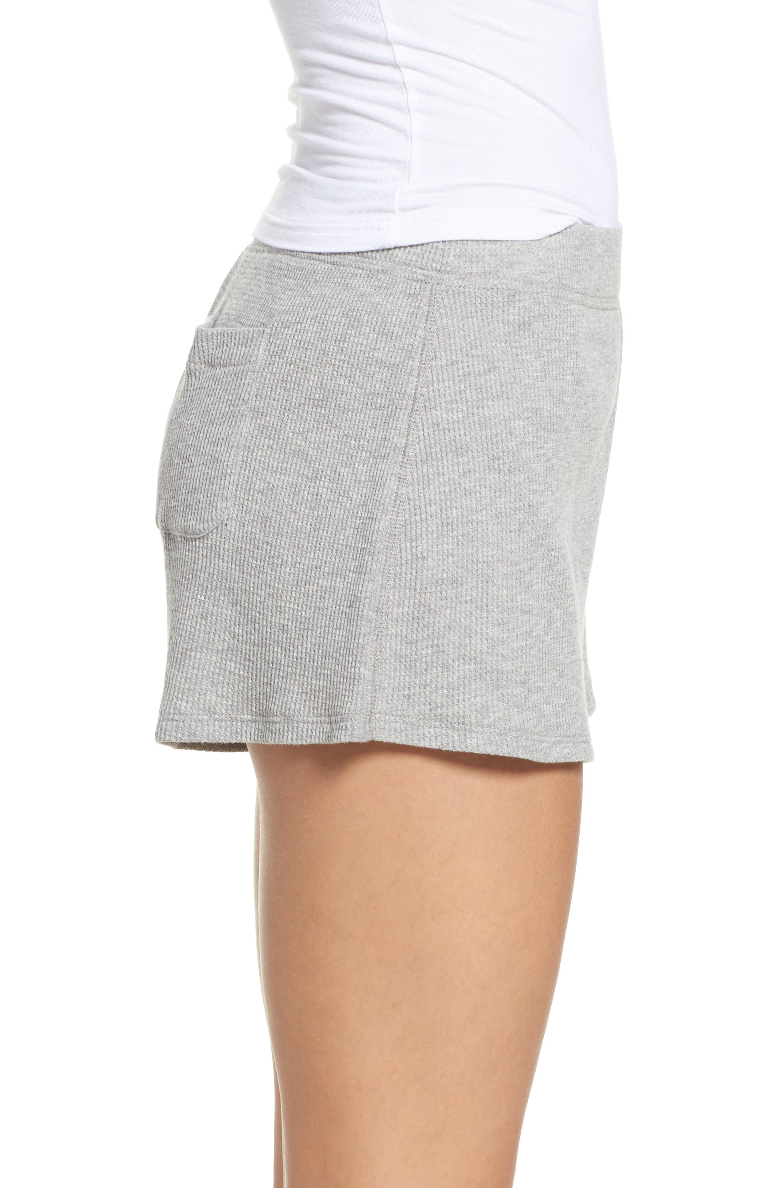 Waffle Knit Lounge Shorts,                             Alternate thumbnail 3, color,                             Heather Grey