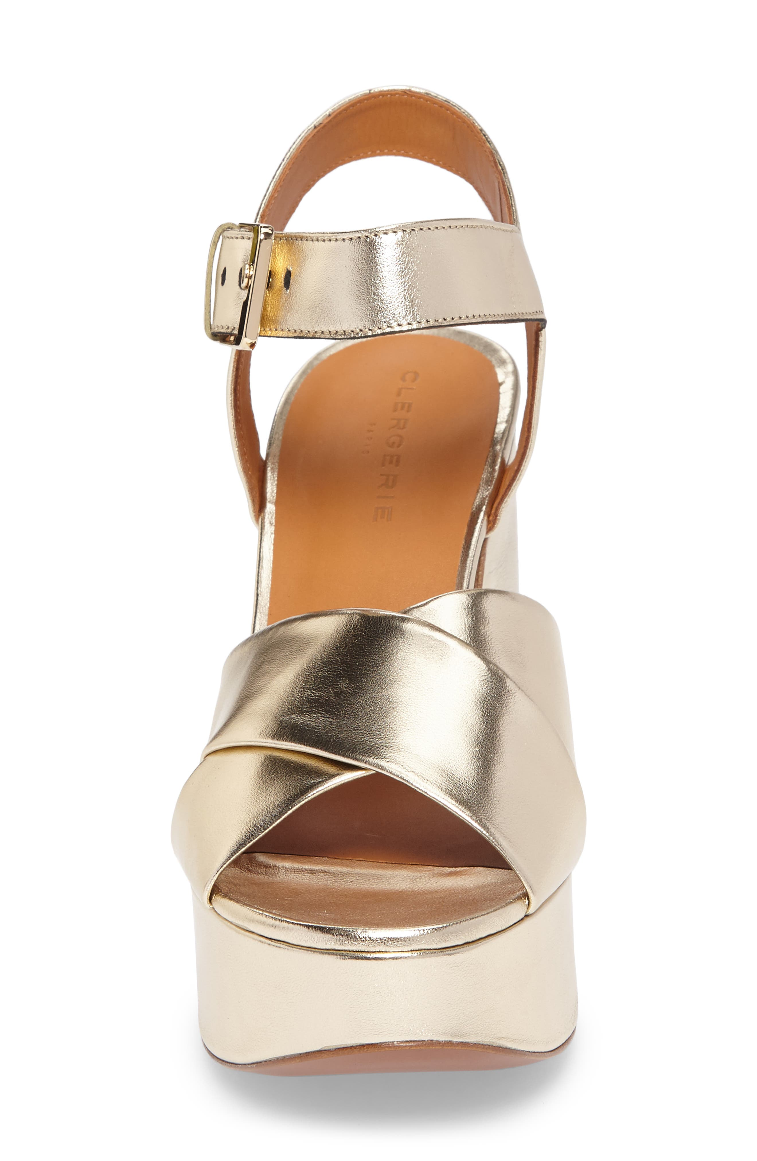 Vianne Ankle Strap Platform Sandal,                             Alternate thumbnail 4, color,                             Metallic Gold