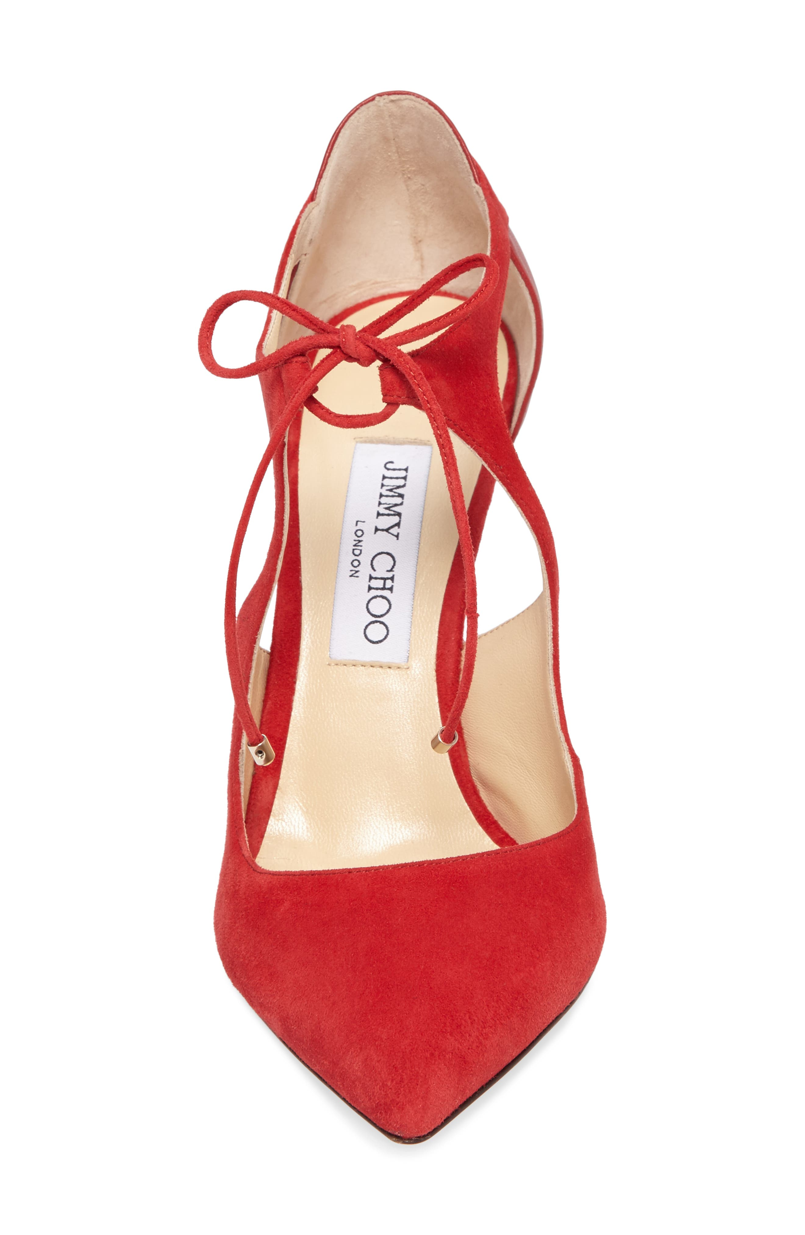Vanessa Tie Front Pump,                             Alternate thumbnail 4, color,                             Red/ Red