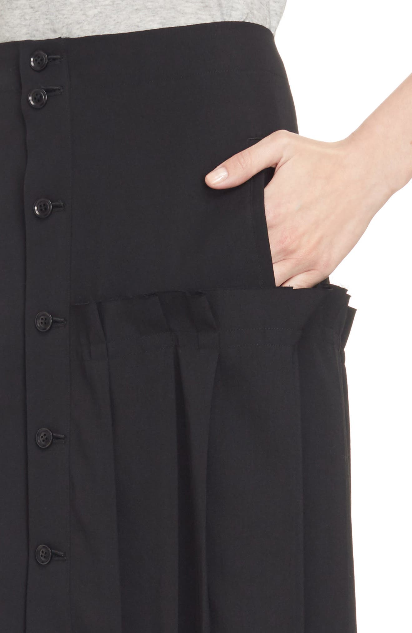 Pleated Button Front Wool Skirt,                             Alternate thumbnail 4, color,                             Black