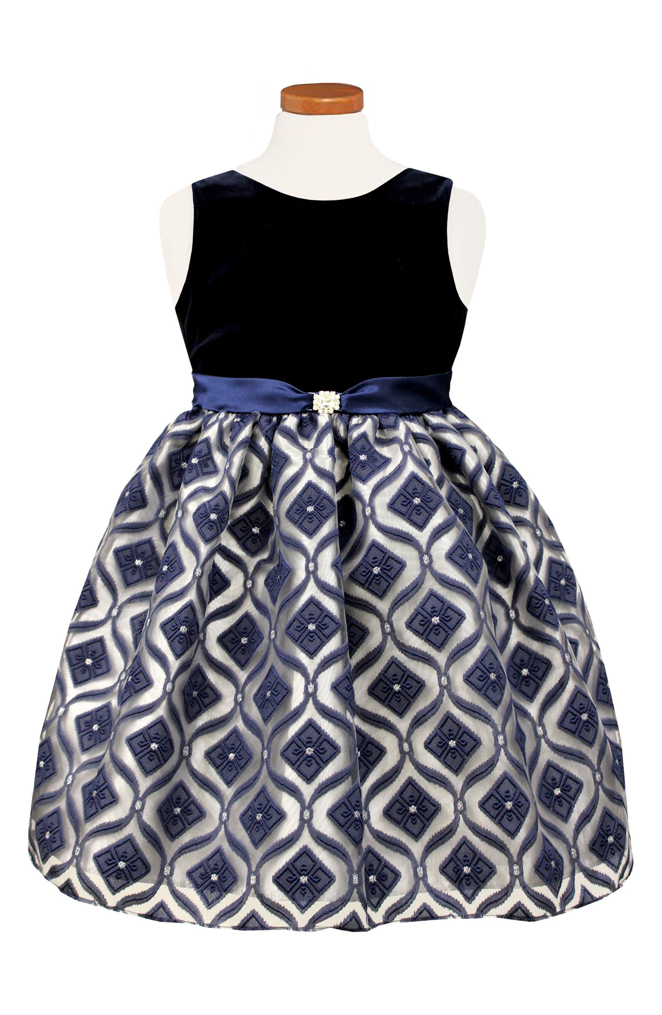 Diamond Burnout Dress,                         Main,                         color, Blue