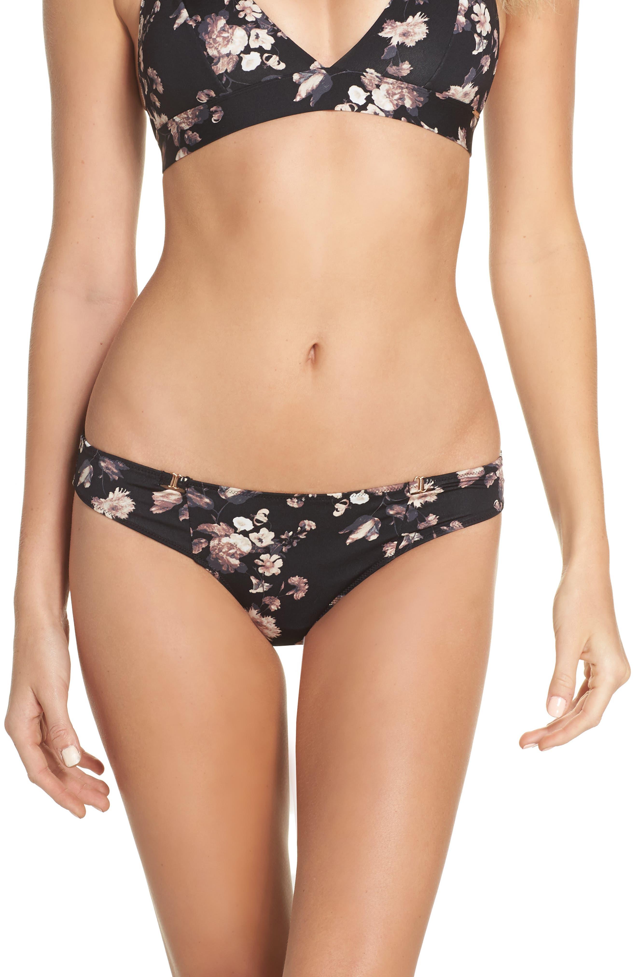 Harper Print Bikini,                             Main thumbnail 1, color,                             Black Floral