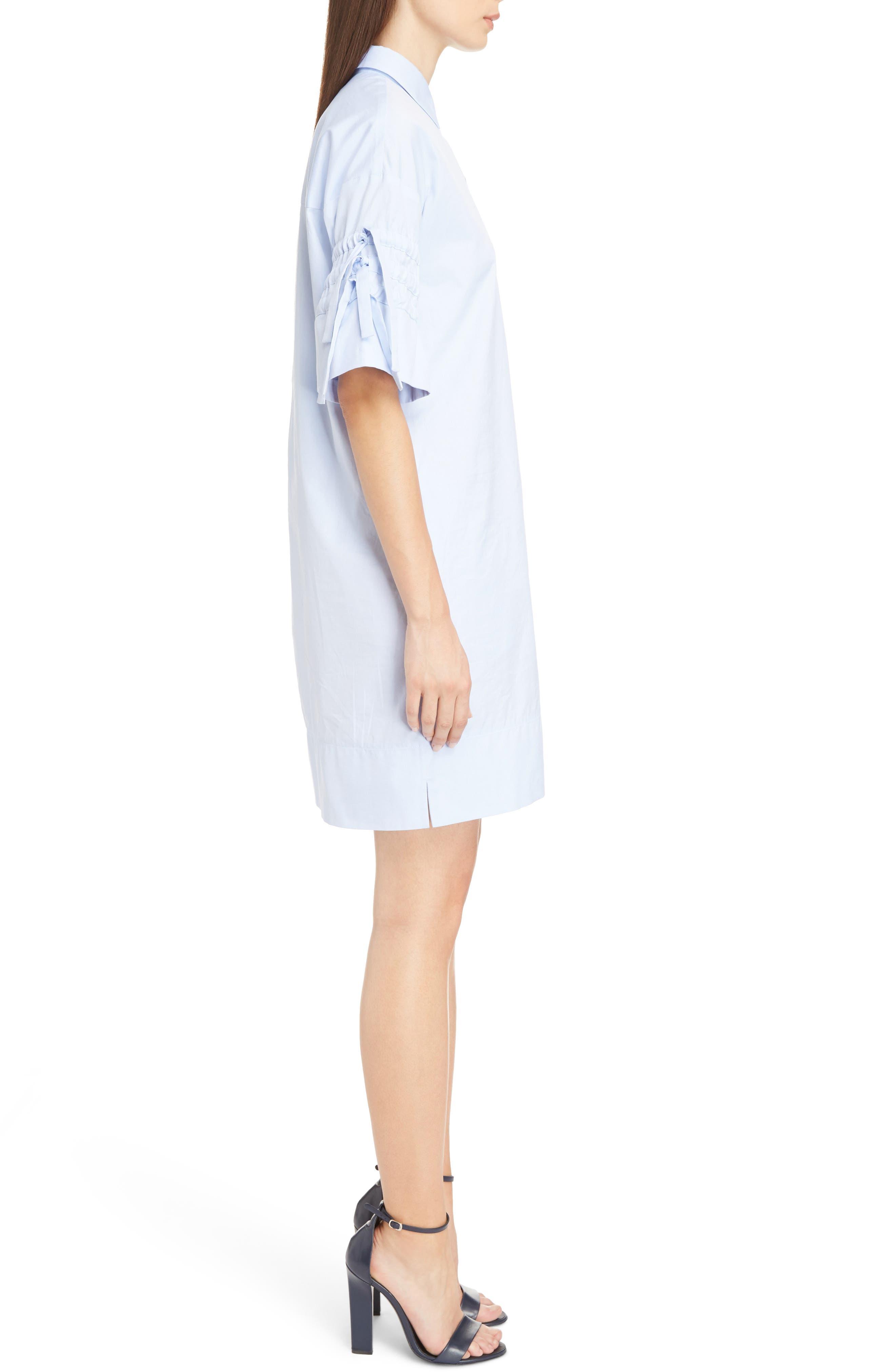 Victoria Victoria Beckham Gathered Sleeve Shirtdress,                             Alternate thumbnail 3, color,                             Oxford Blue