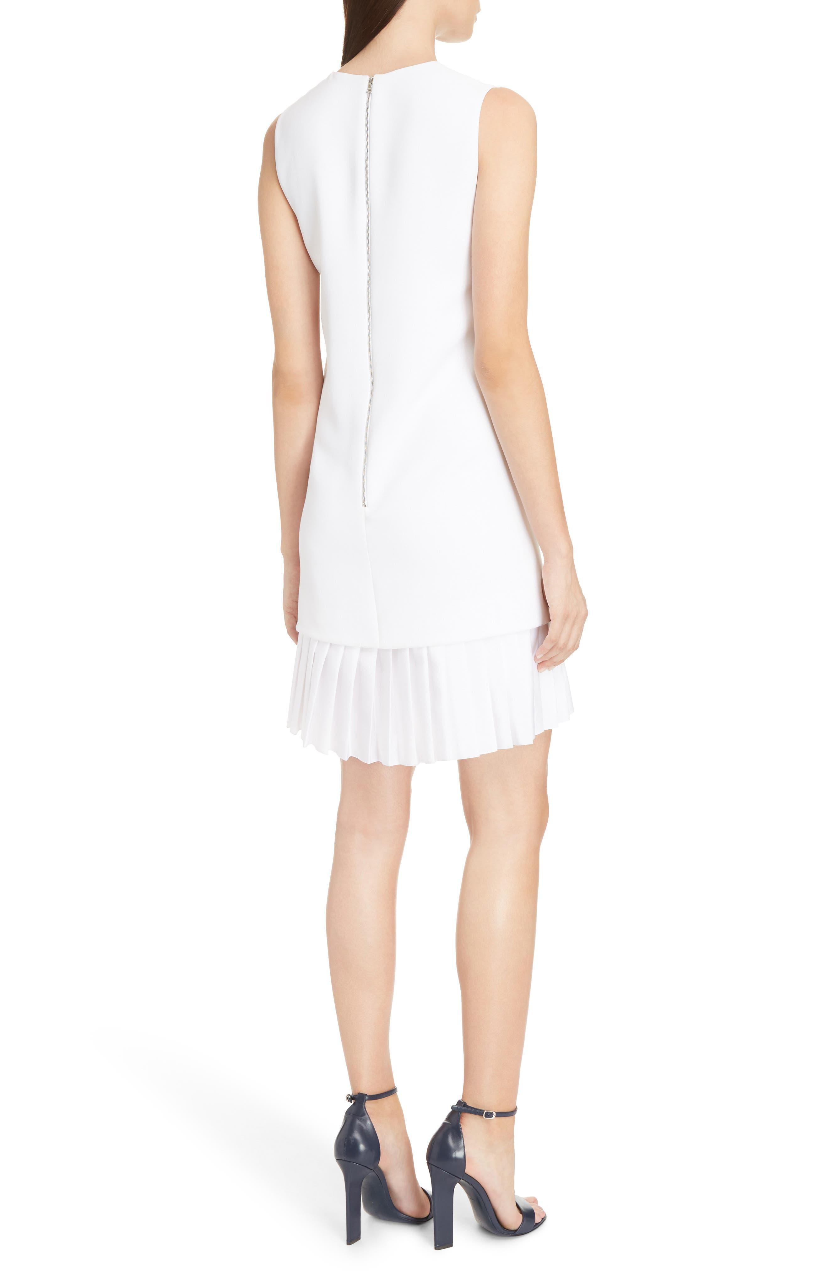 Victoria Victoria Beckham Pleated Hem Shift Dress,                             Alternate thumbnail 2, color,                             Optic White