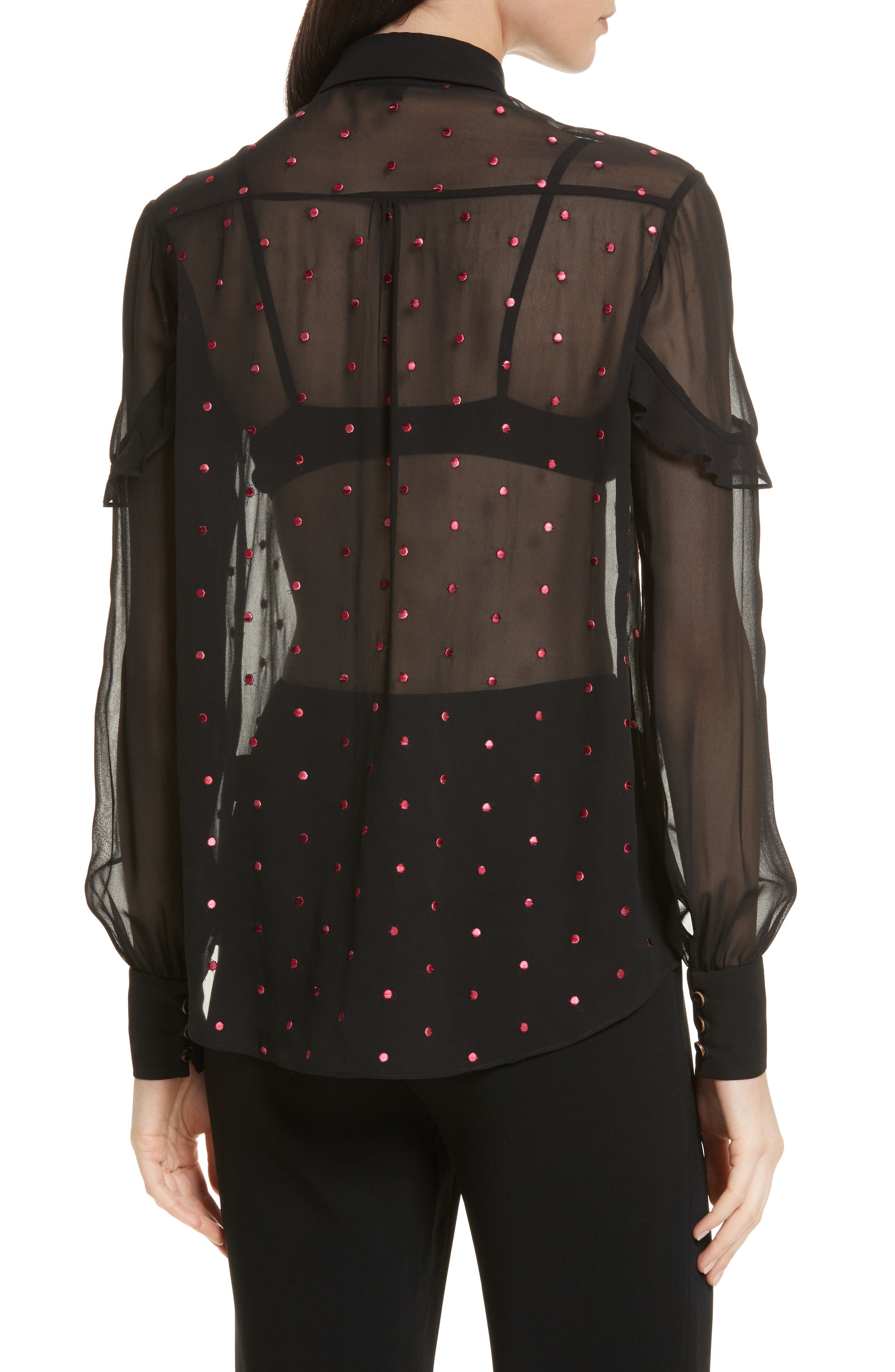 Myra Embroidered Silk Shirt,                             Alternate thumbnail 2, color,                             Black Rose Ombre Dots