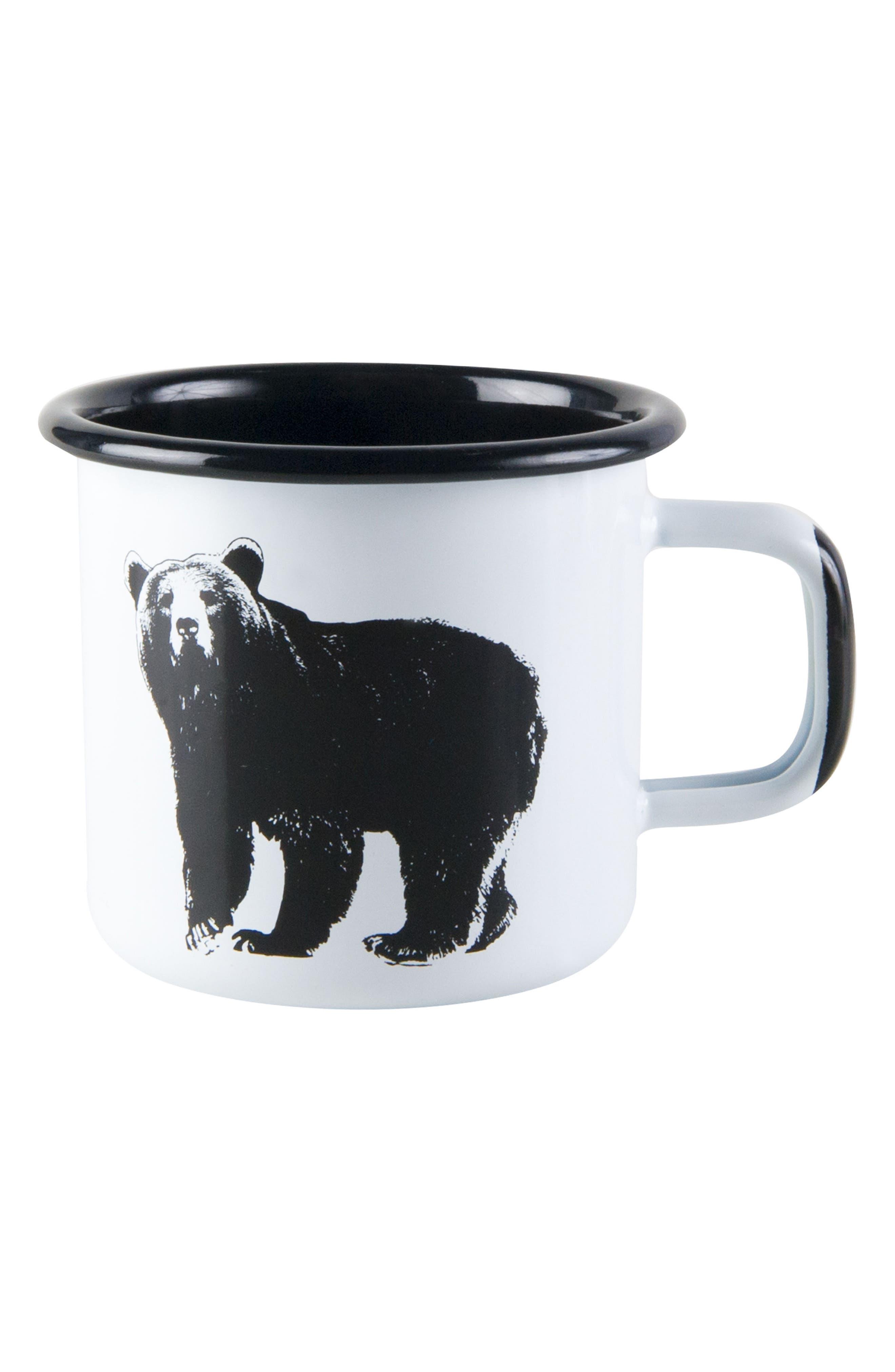 Bear Enamel Mug,                         Main,                         color, White