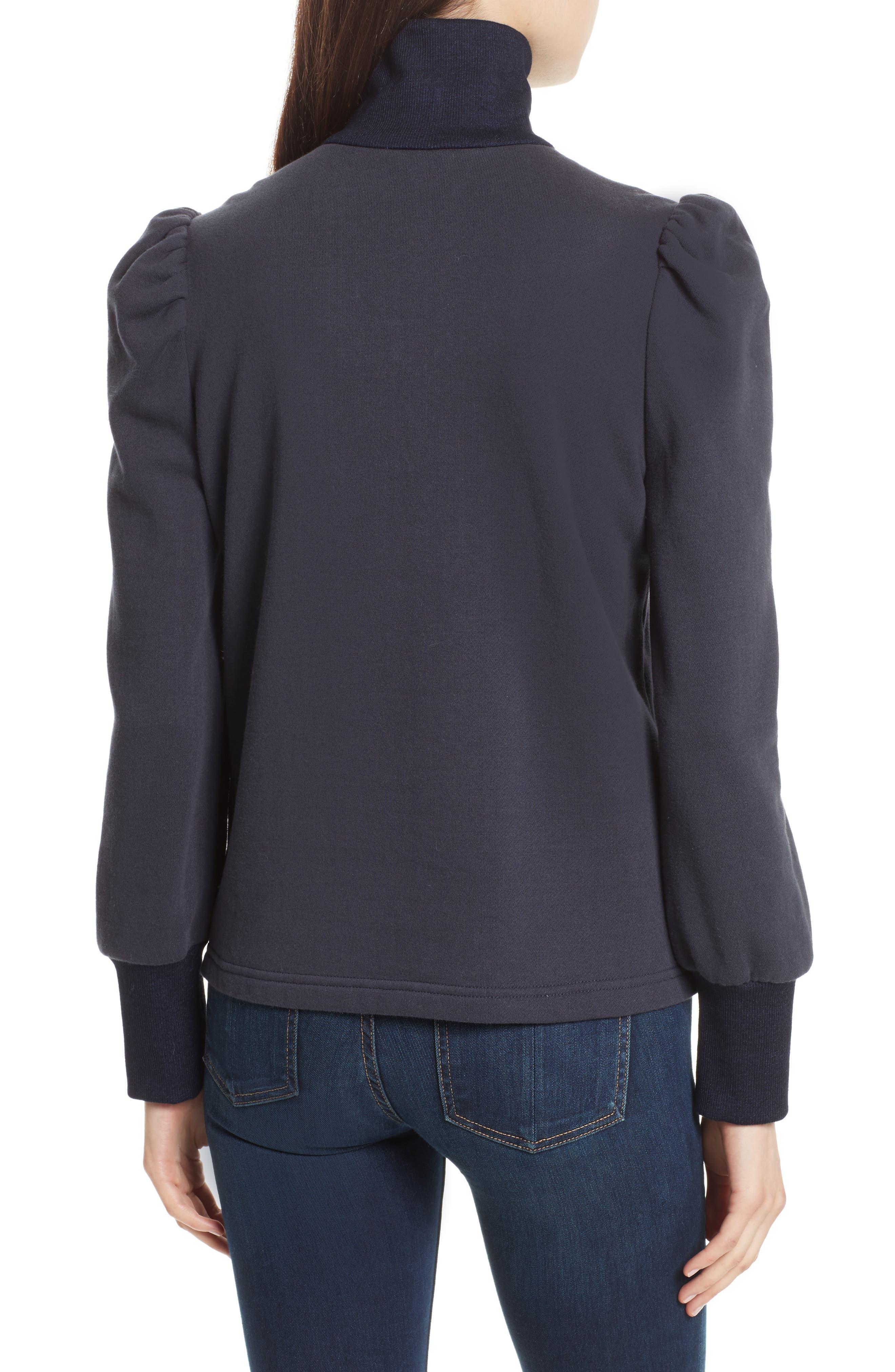Alternate Image 2  - Rebecca Taylor Turtleneck Fleece Zip Pullover