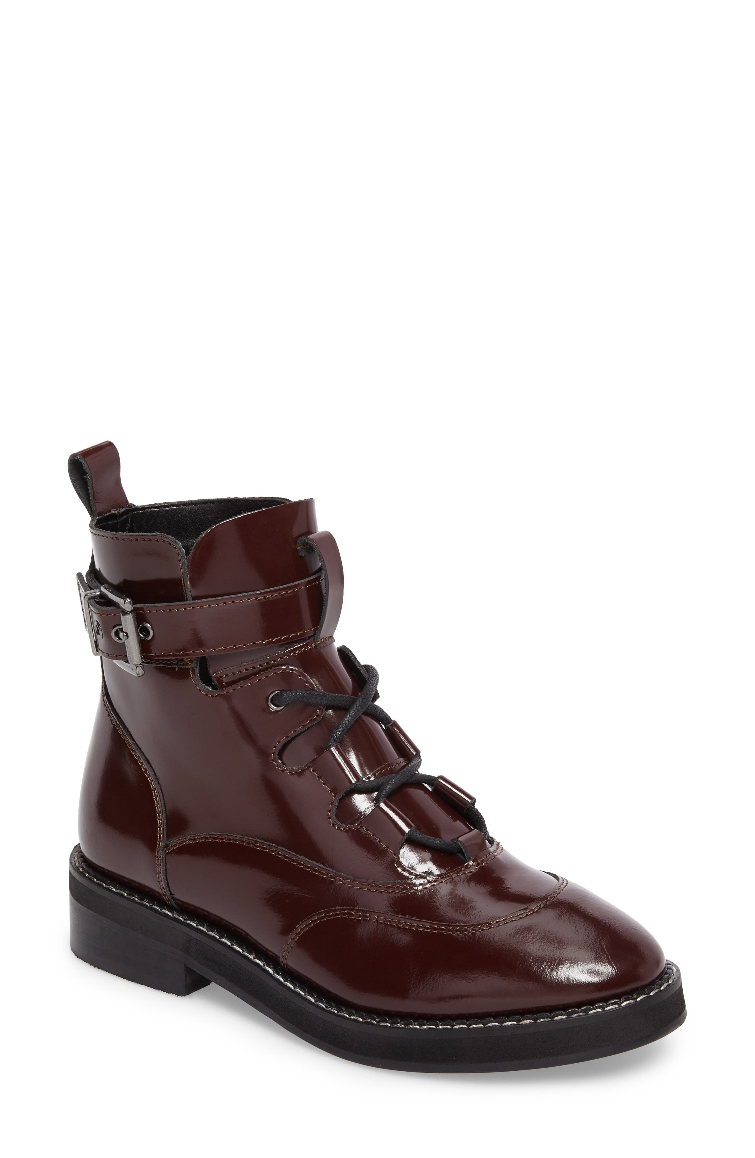 Braxton Moto Boot,                         Main,                         color, Burgundy