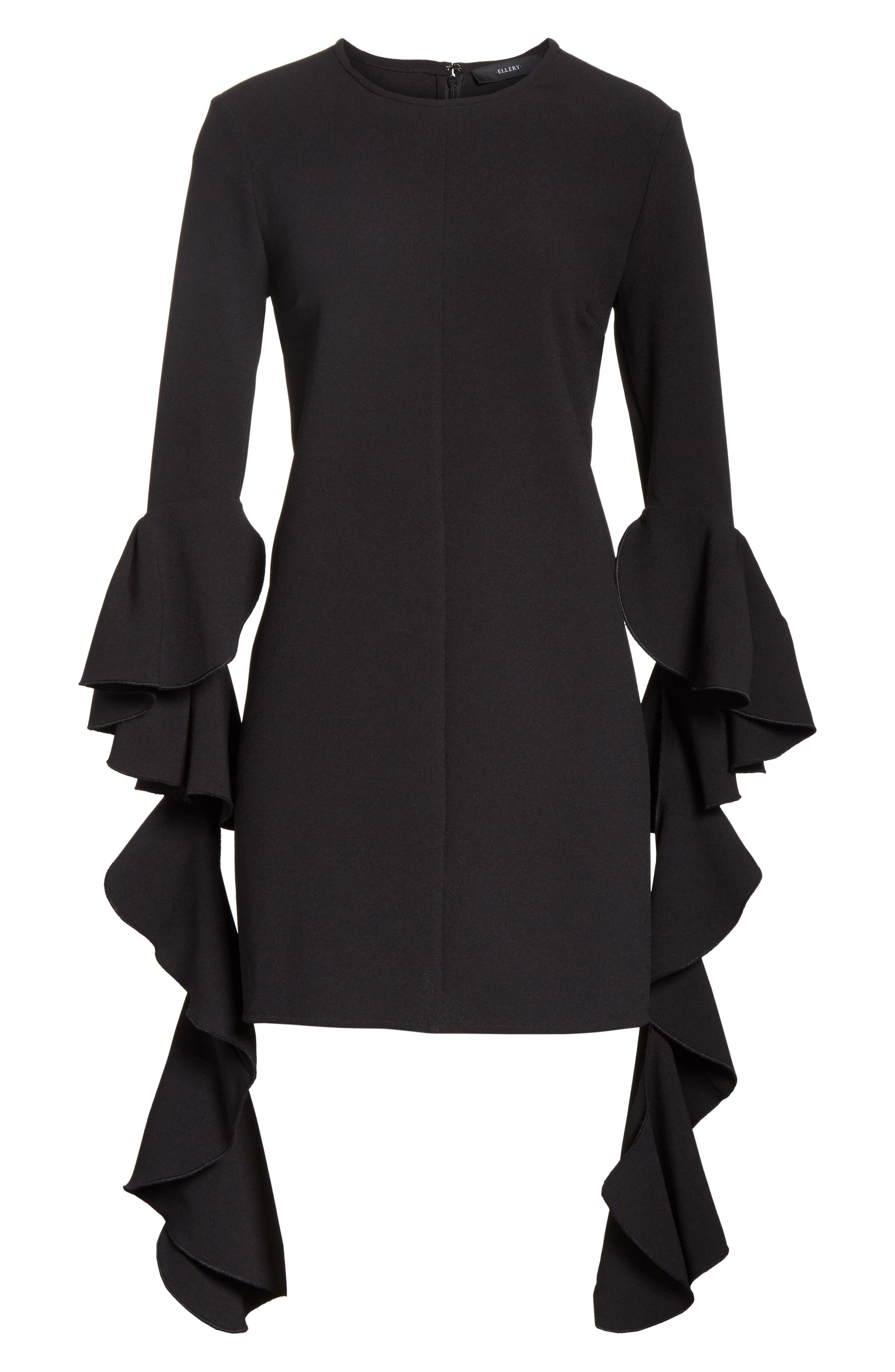 Kilkenny Frill Sleeve Minidress,                             Alternate thumbnail 7, color,                             Black