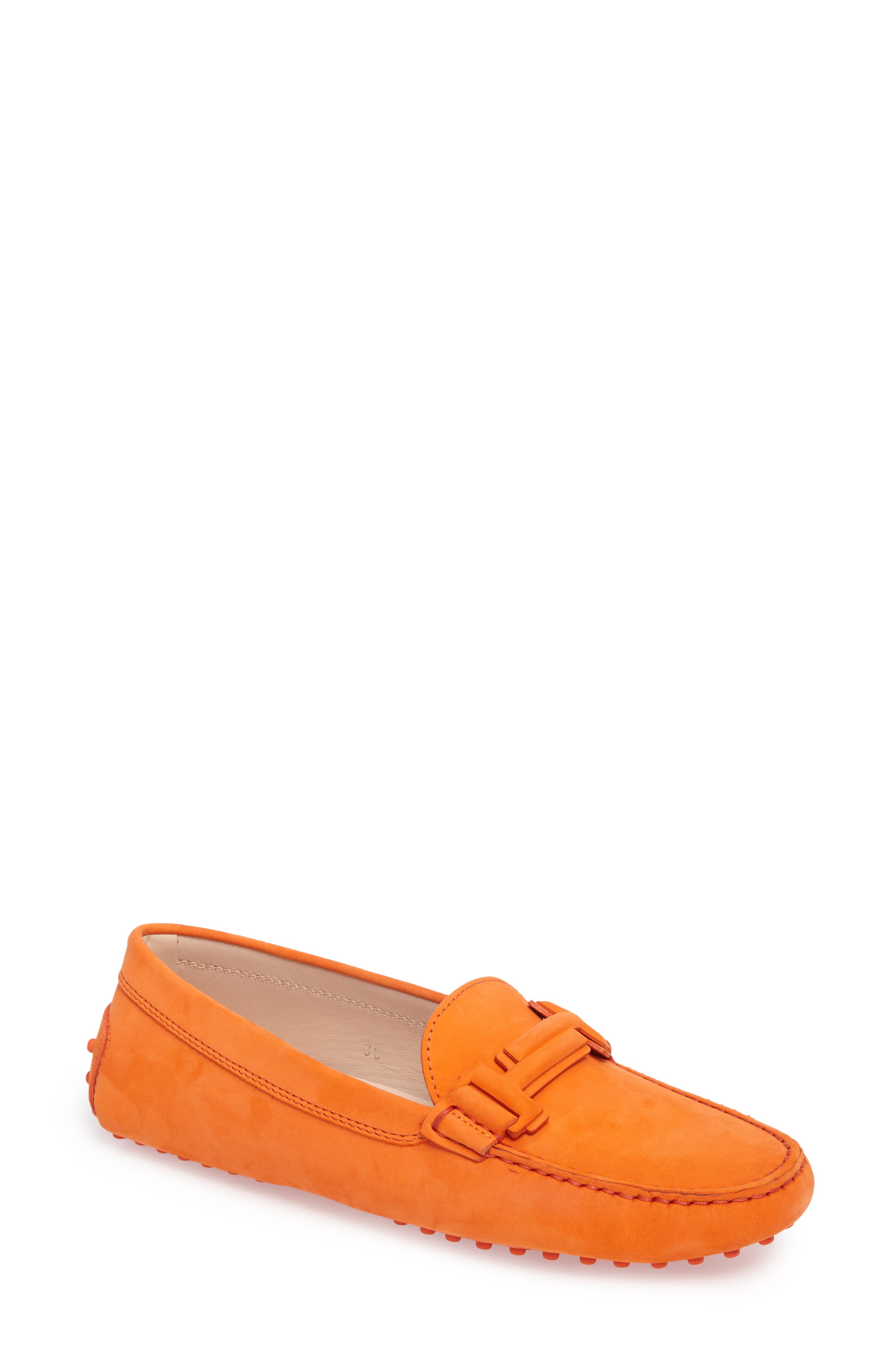 Gommini Covered Double T Loafer,                             Main thumbnail 1, color,                             Orange