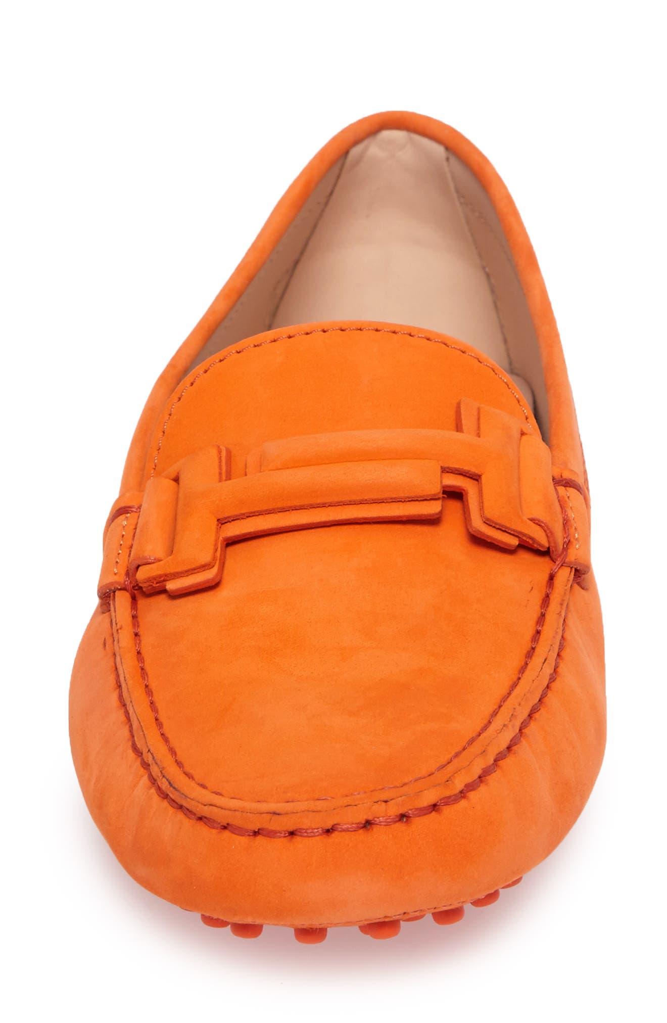 Gommini Covered Double T Loafer,                             Alternate thumbnail 4, color,                             Orange