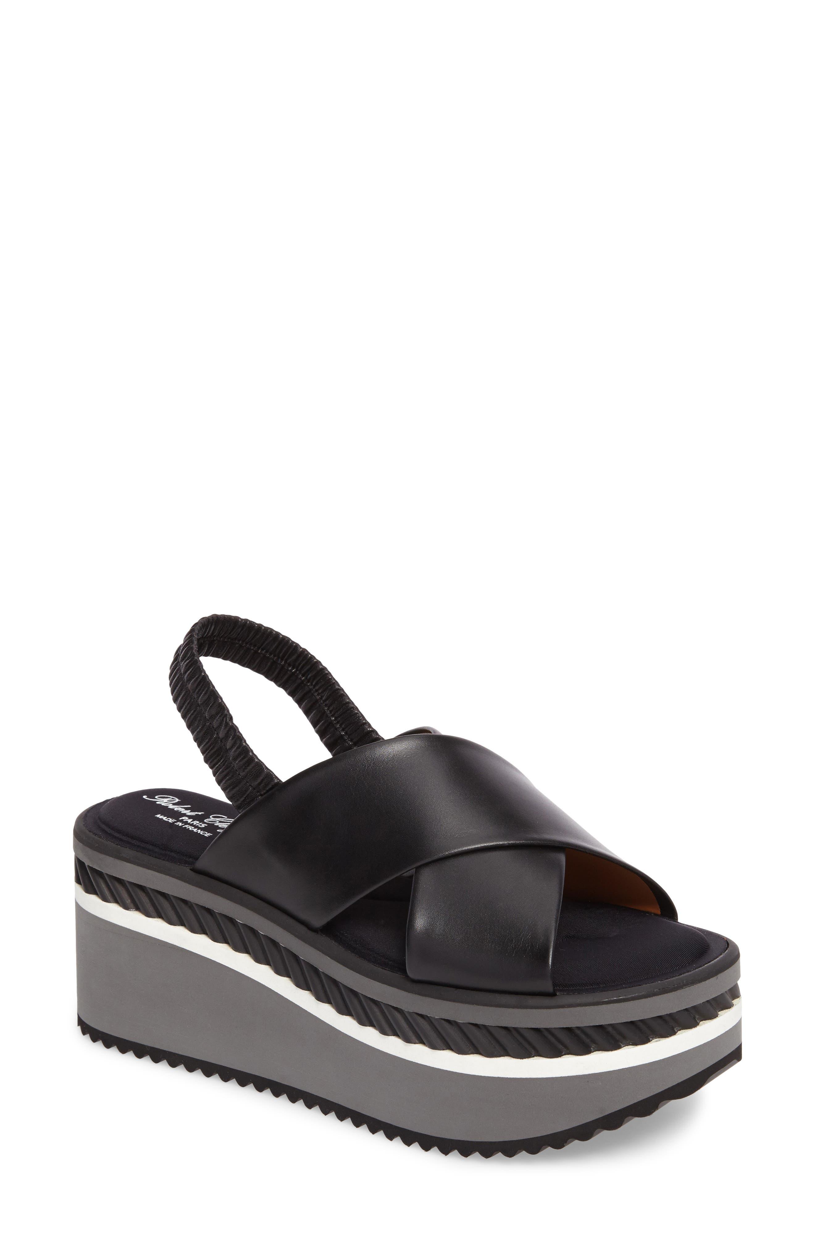 Omin Platform Slingback Sandal,                             Main thumbnail 1, color,                             Black