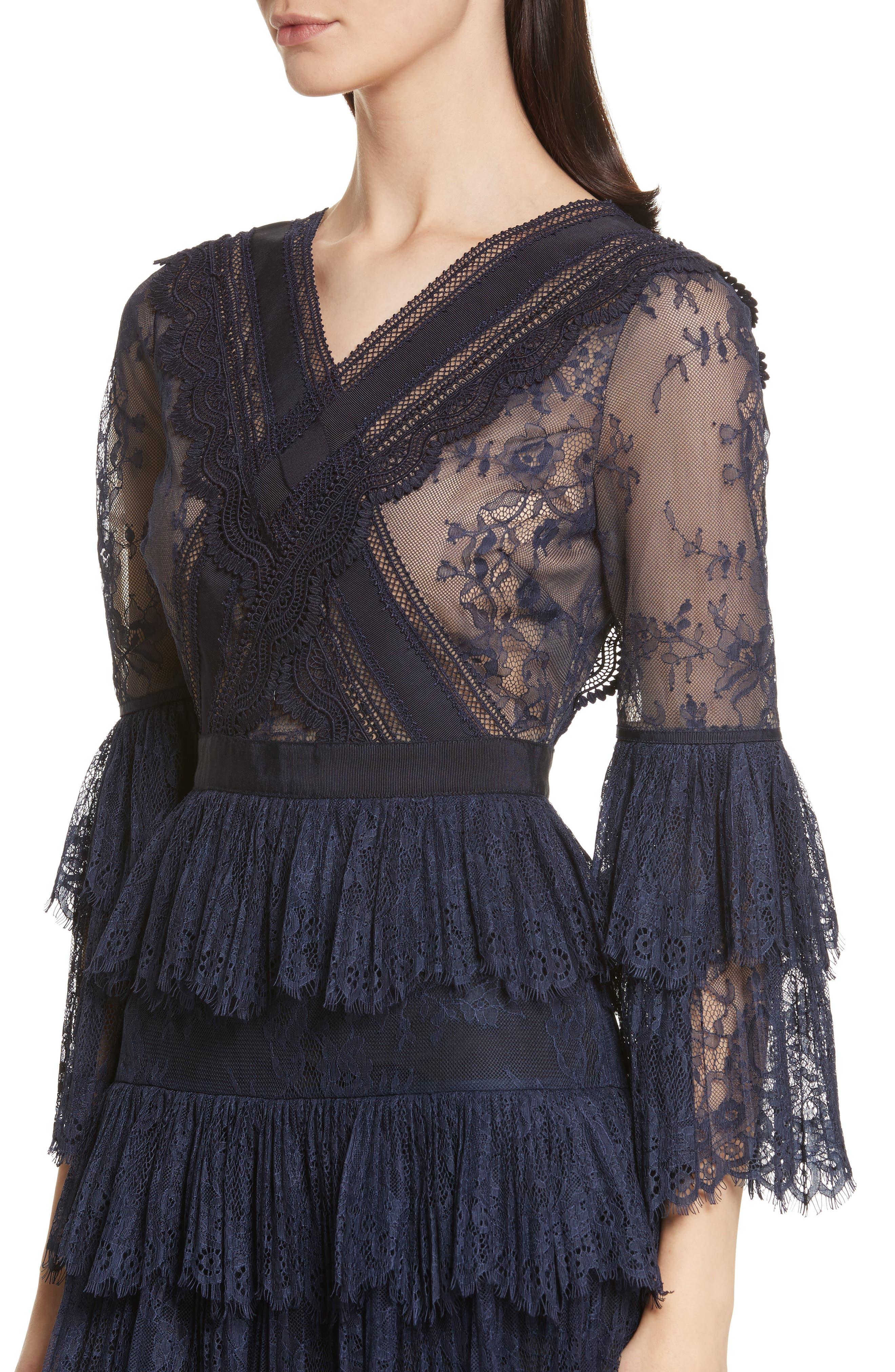 Pleated Lace Dress,                             Alternate thumbnail 4, color,                             Dark Blue