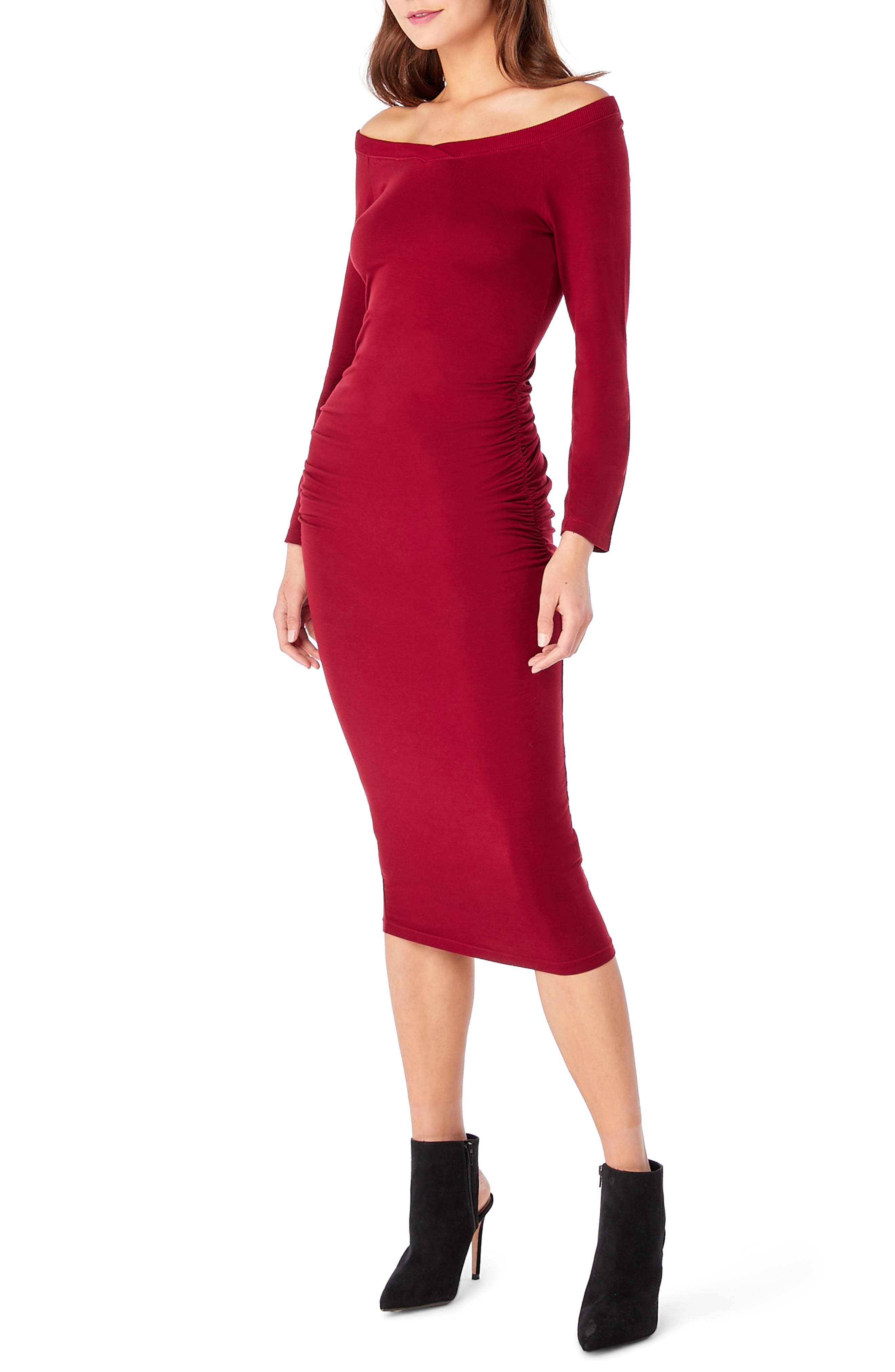 Off the Shoulder Body-Con Dress,                             Alternate thumbnail 3, color,                             Ruby