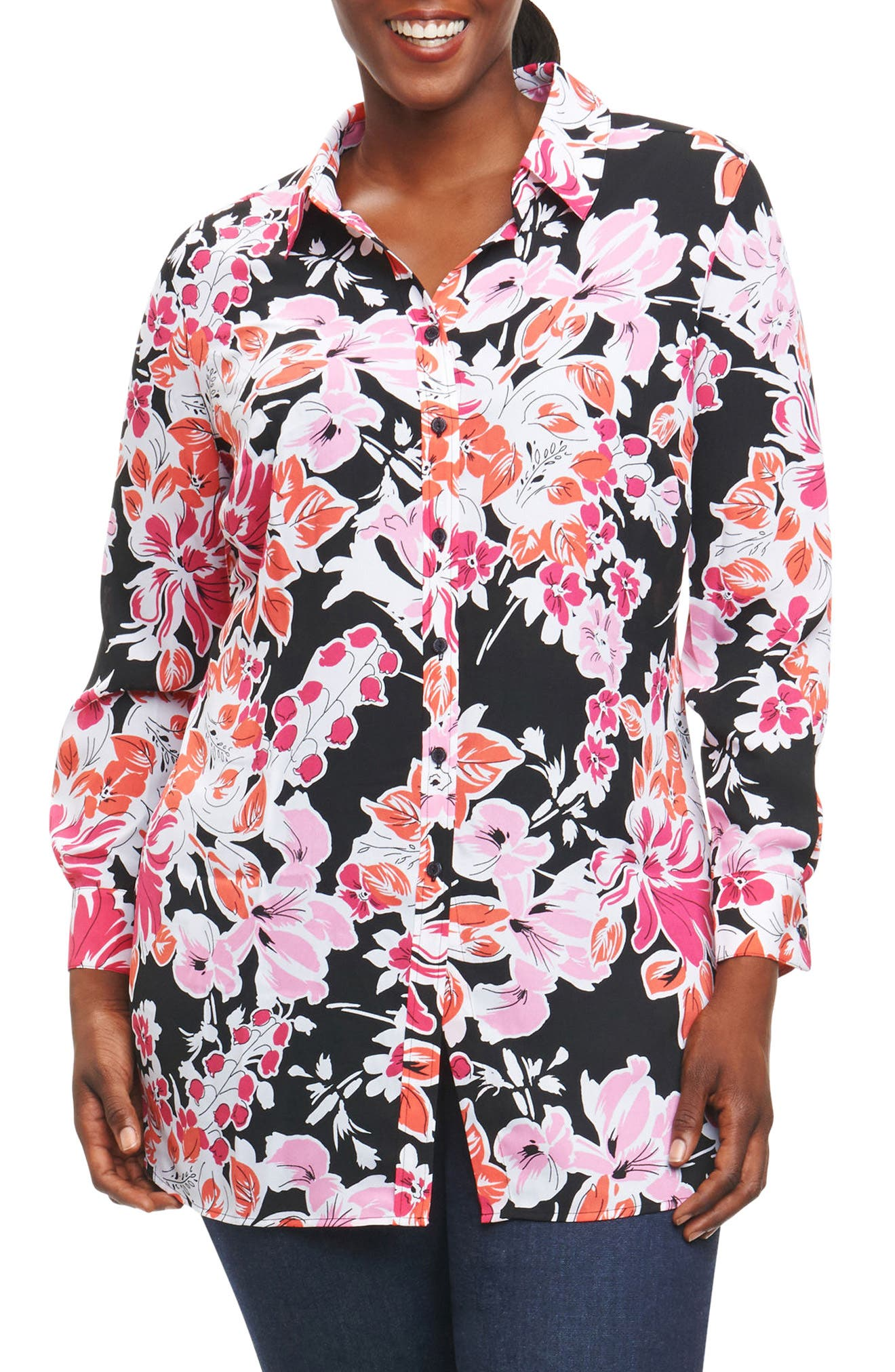 Main Image - Foxcroft Jade Blooming Floral Tunic (Plus Size)