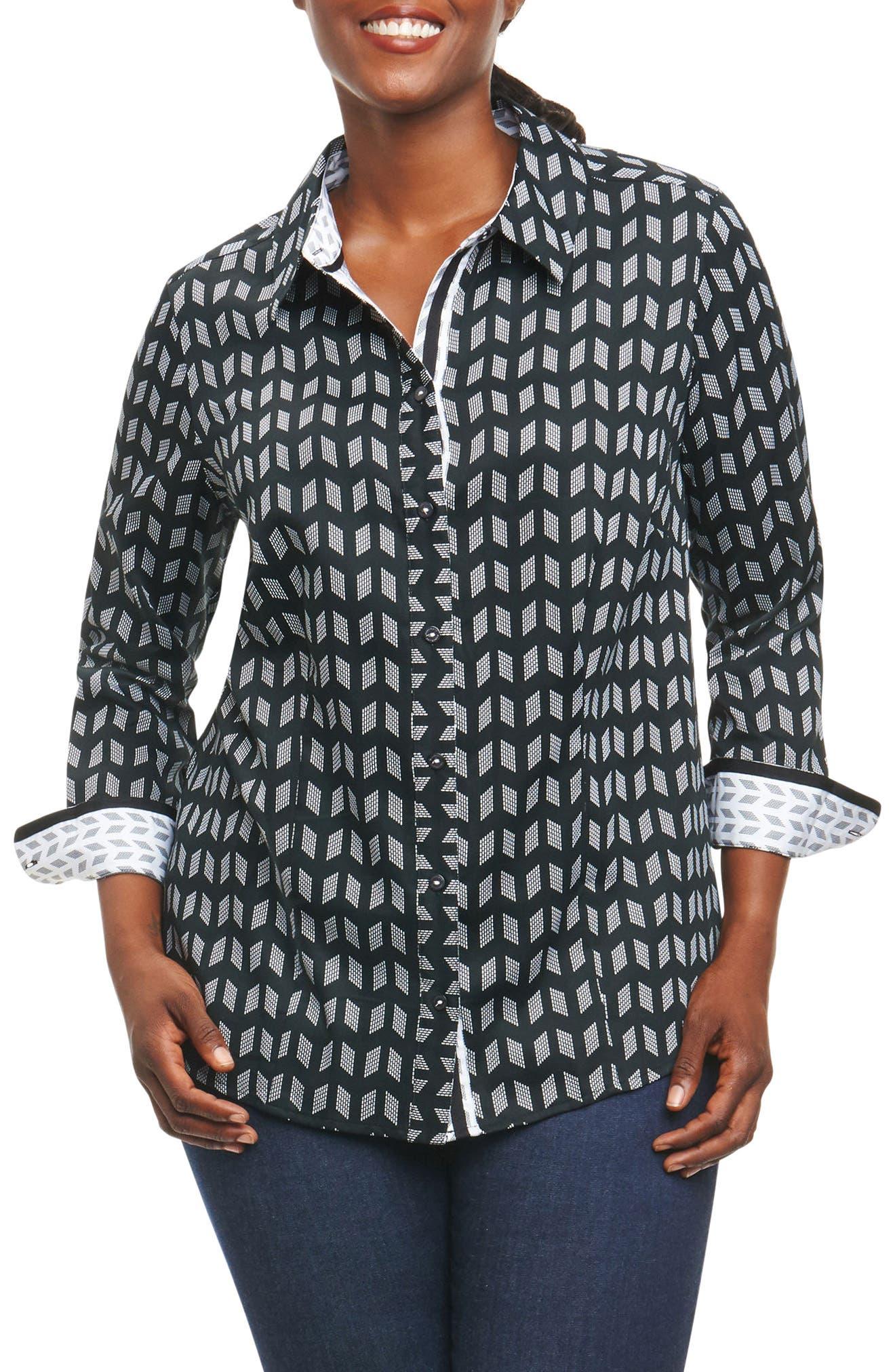 Main Image - Foxcroft Brooke Chevron Geo Shirt (Plus Size)