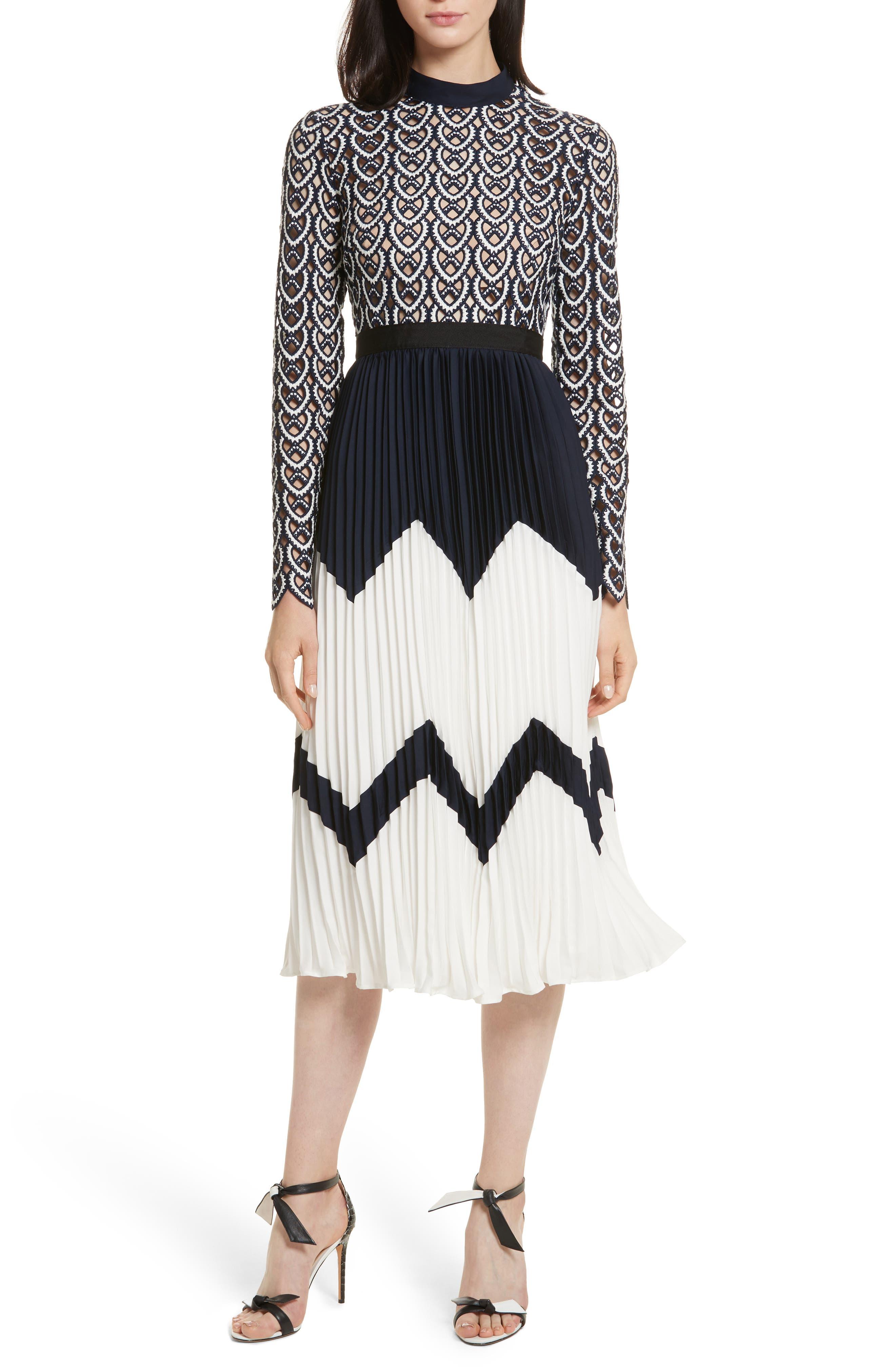 Self-Portrait Sweetheart Crochet Pleated Midi Dress