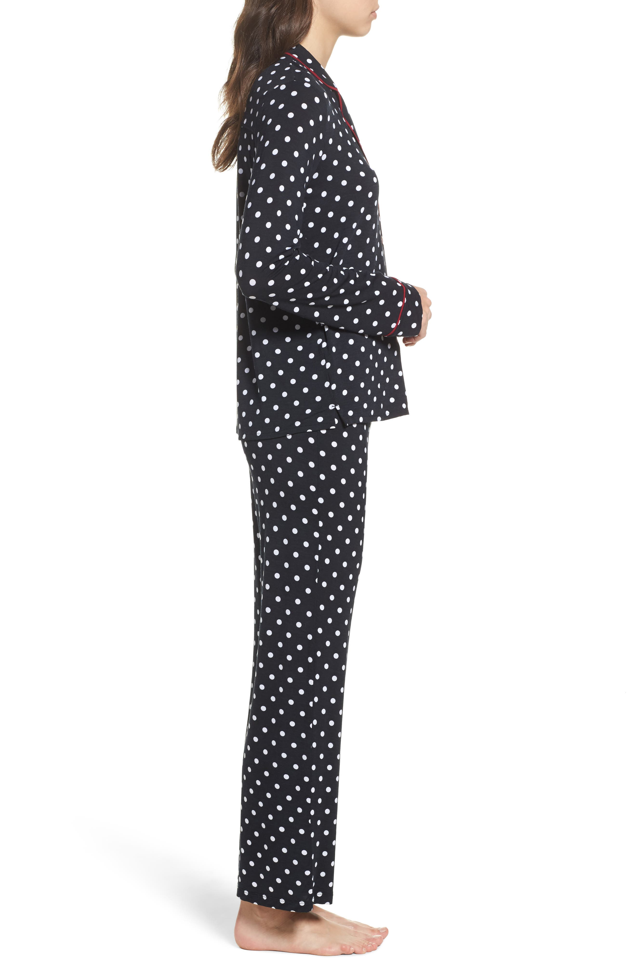 Stretch Modal Pajamas & Eye Mask,                             Alternate thumbnail 3, color,                             Black