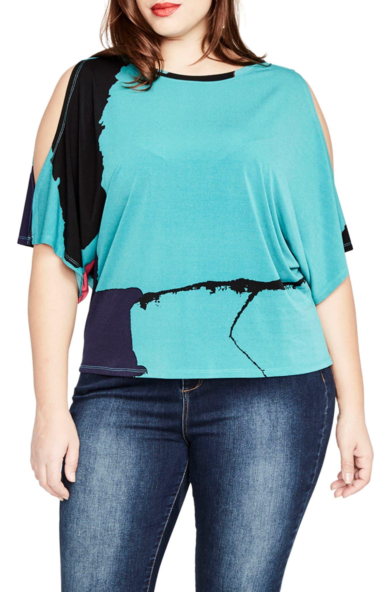 Main Image - Rachel Roy Print Cold Shoulder Top (Plus Size)