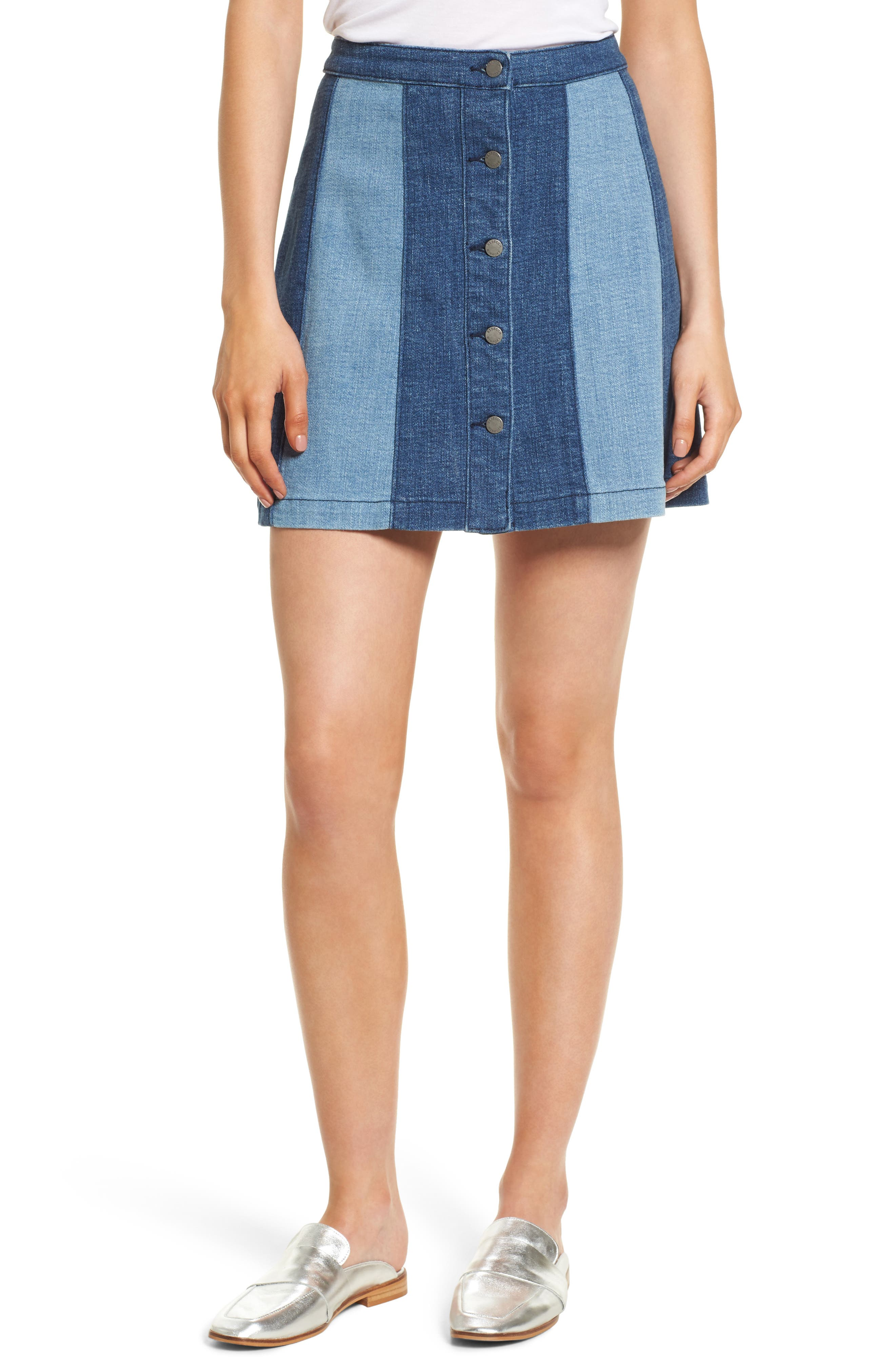 Beatty Denim Miniskirt,                             Main thumbnail 1, color,                             Indigo