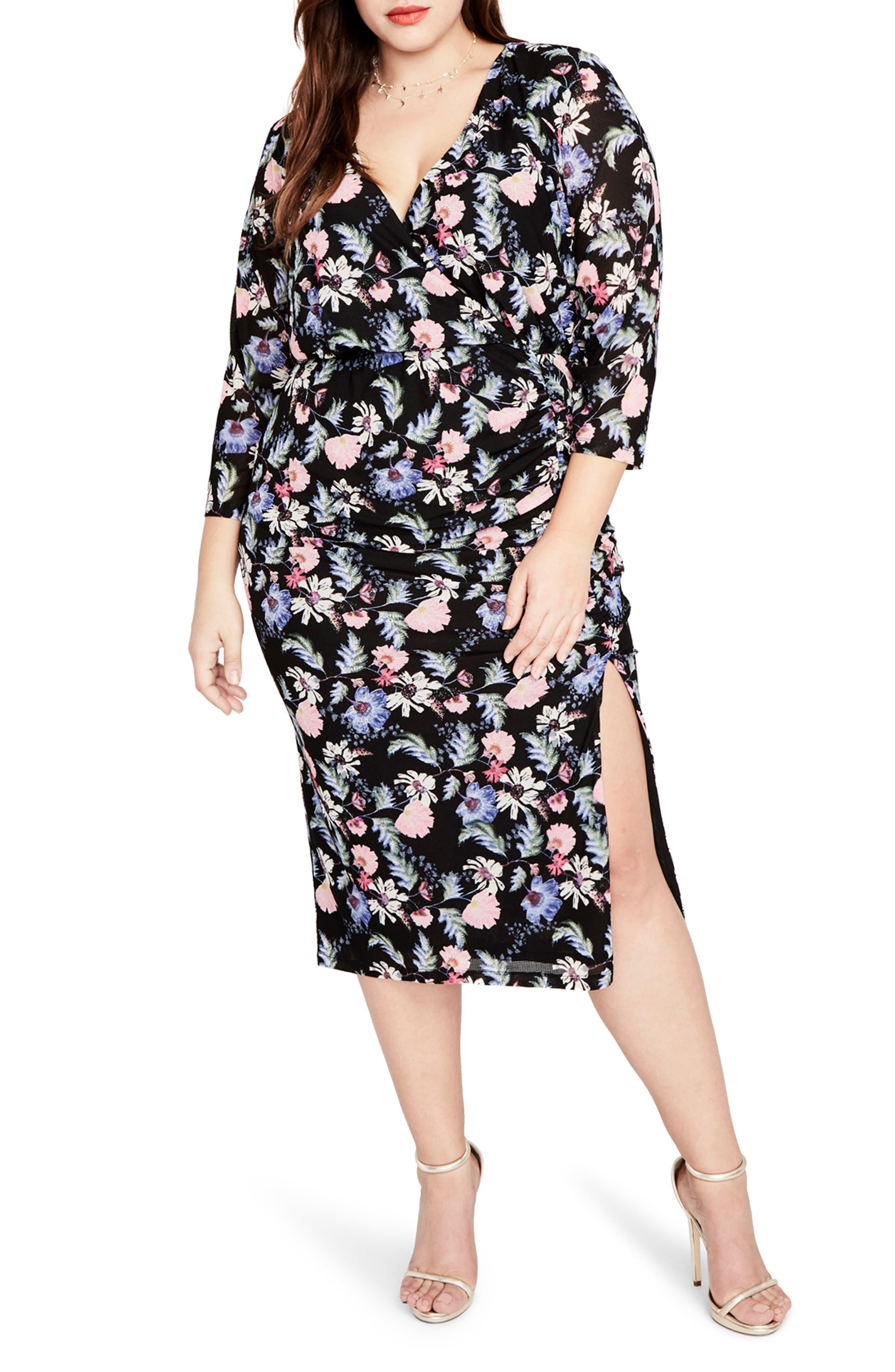 RACHEL BY Rachel Roy Ruched Floral Midi Dress,                         Main,                         color, Black Multi