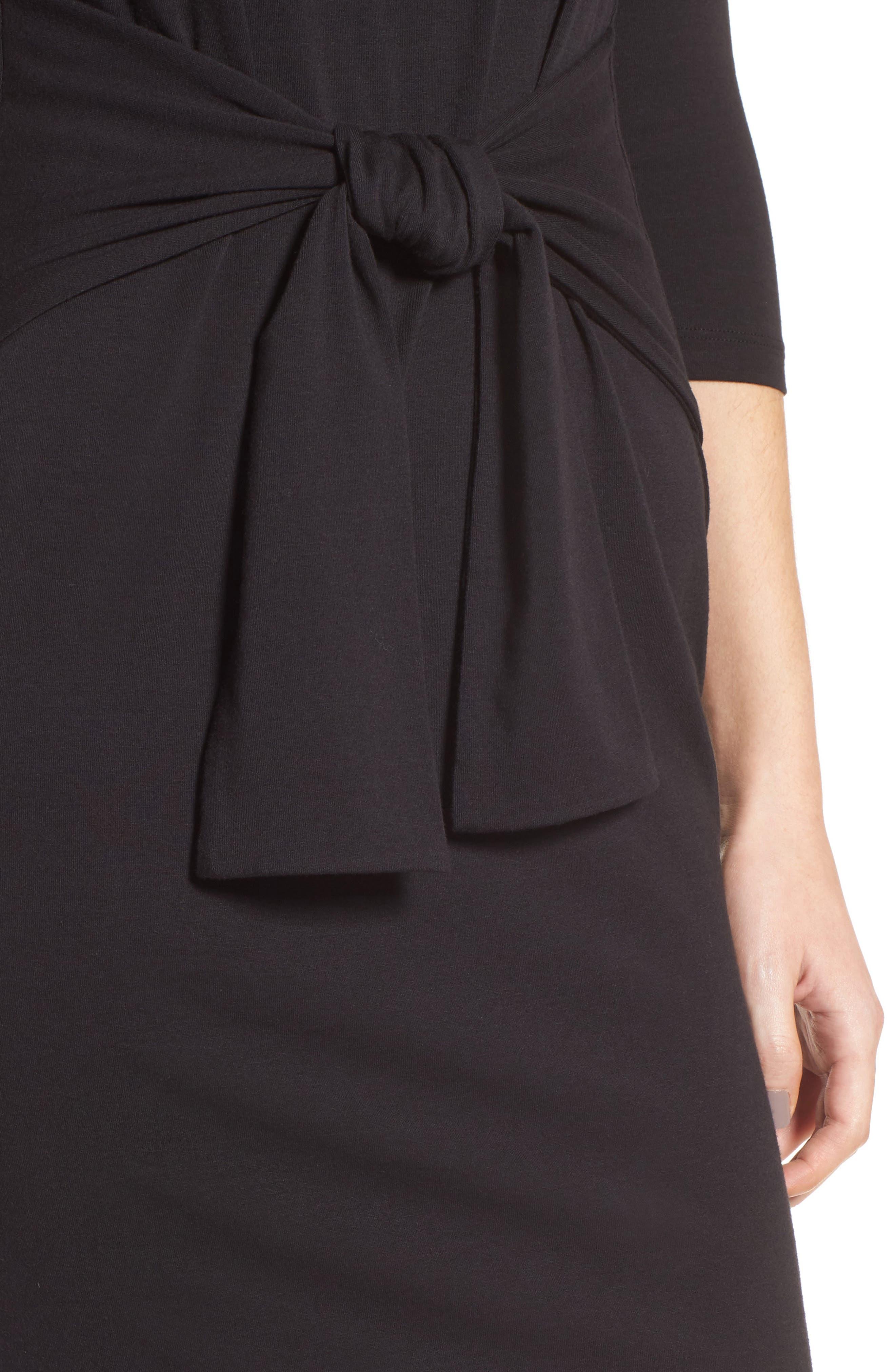 Colombe Knit Sheath Dress,                             Alternate thumbnail 4, color,                             Black