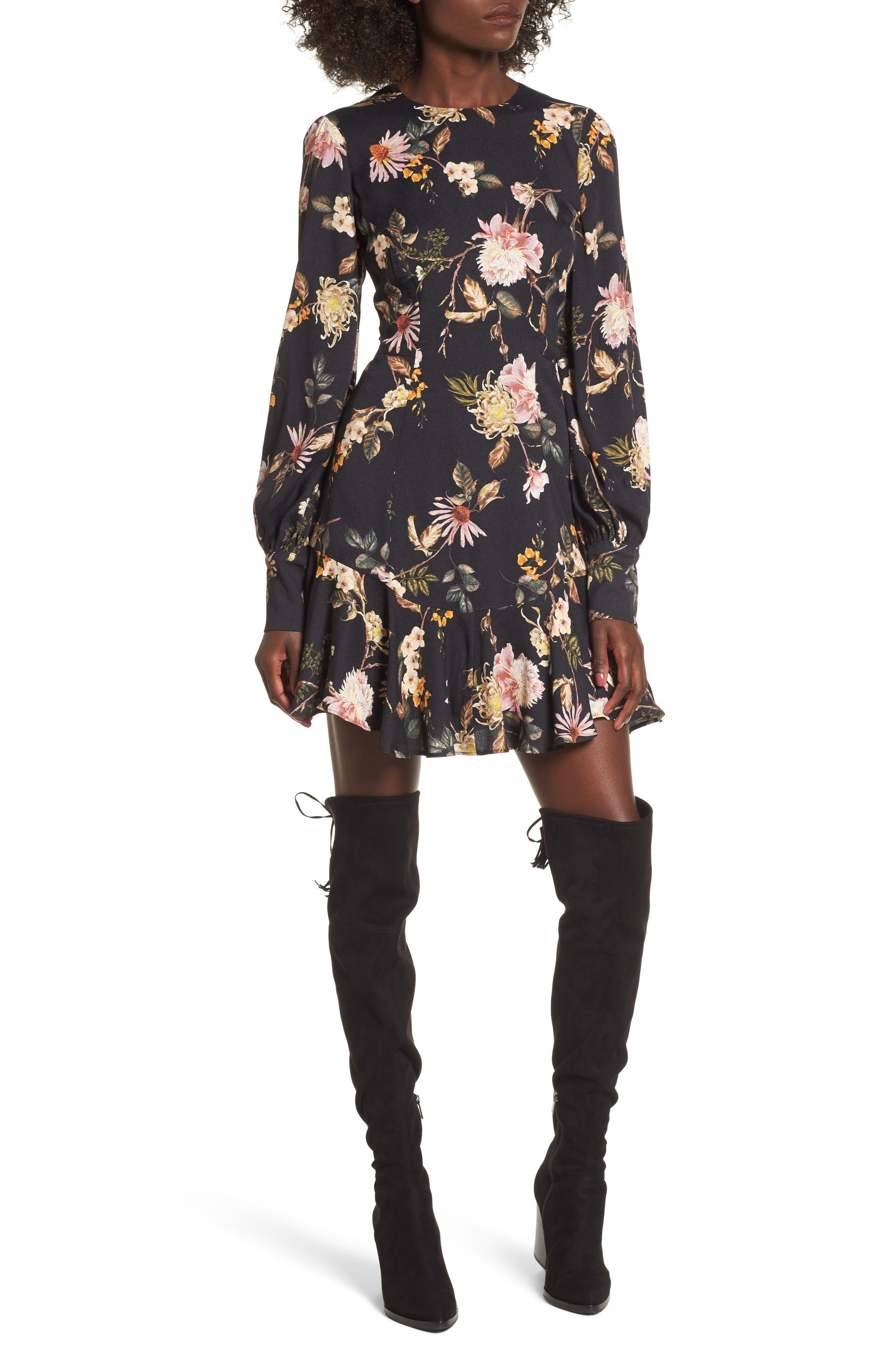 Savanna Lattice Back Fit & Flare Dress,                             Main thumbnail 1, color,                             Noir Floral