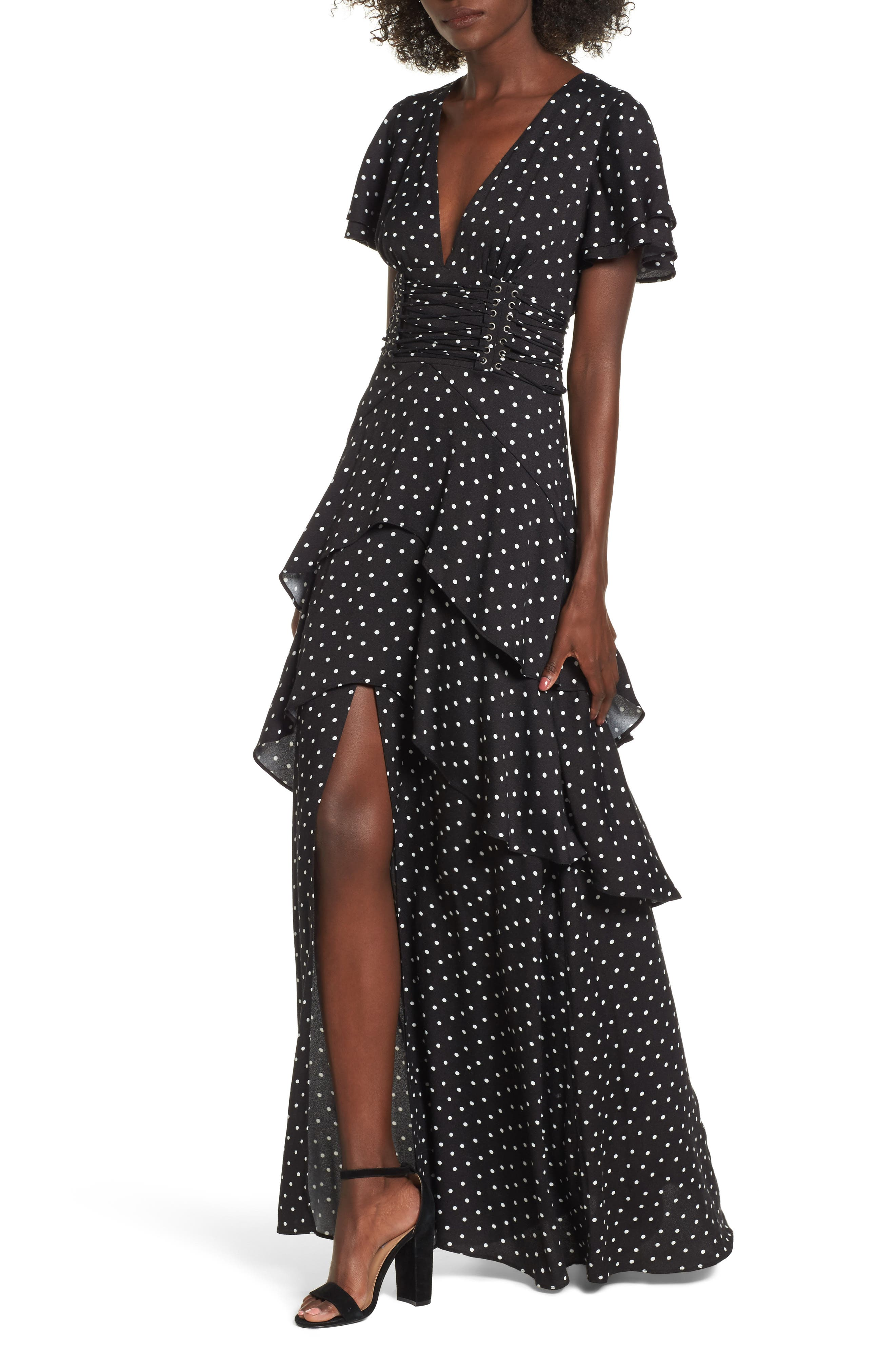 Micah Corset Maxi Dress,                         Main,                         color, Noir Polka Dot