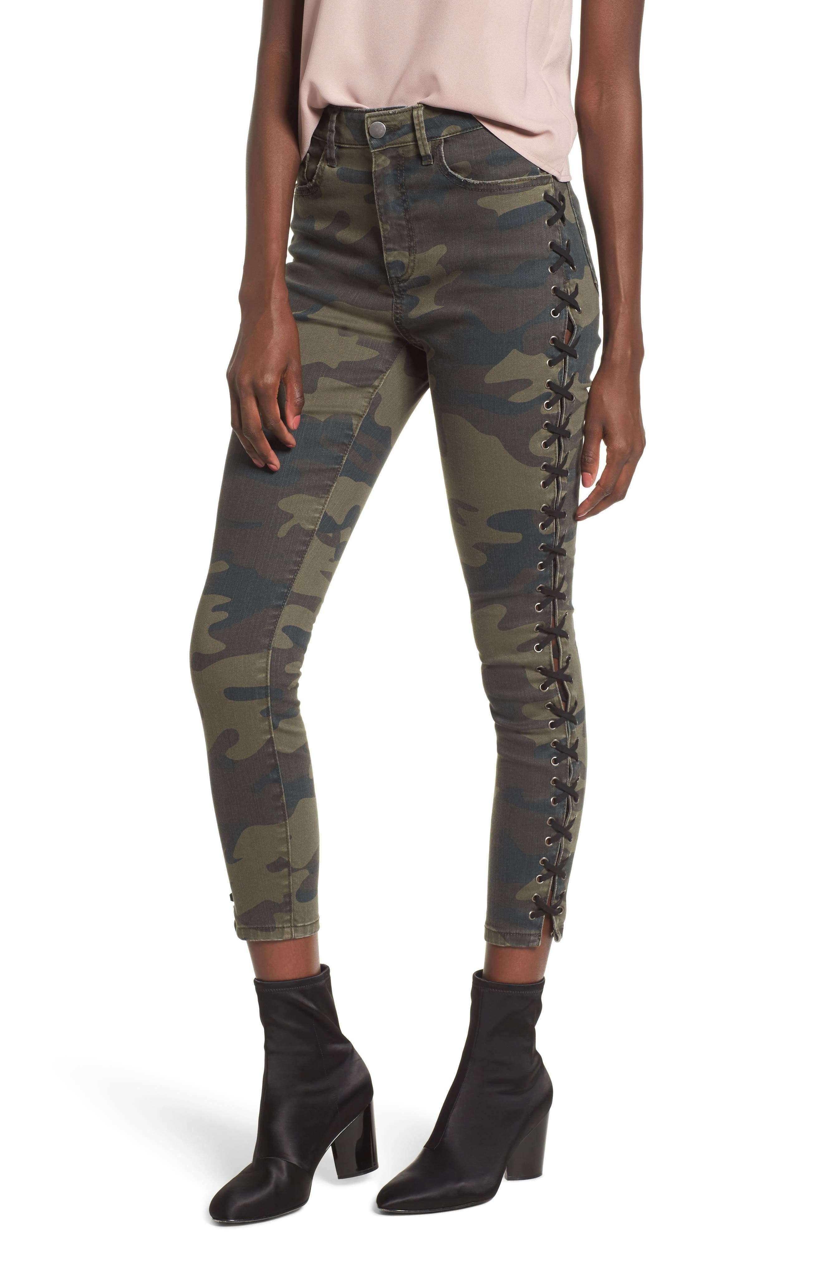 Lace Up Camo Crop Skinny Jeans,                             Main thumbnail 1, color,                             Camo Grunge Overdye