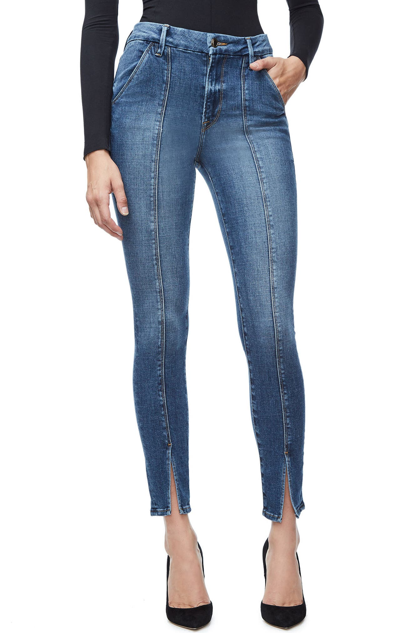 Good American Good Waist Trouser Pocket High Waist Skinny Jeans (Blue 118) (Regular & Plus Size)