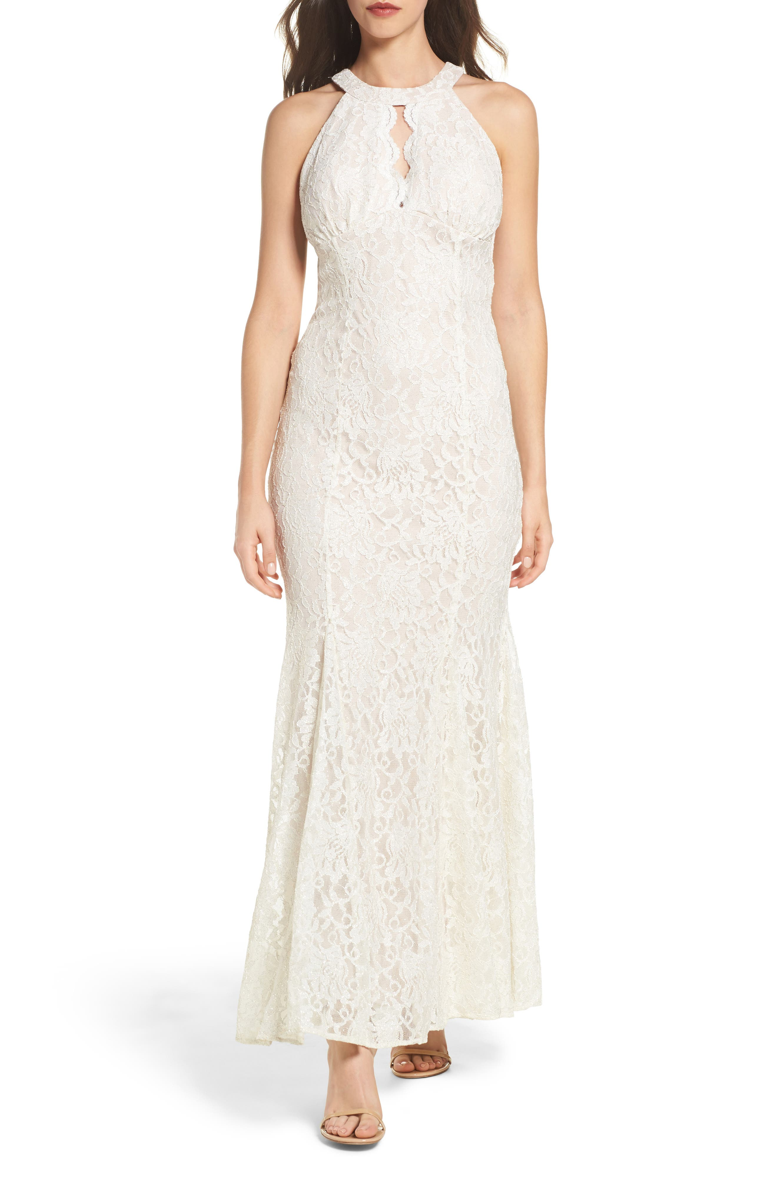 Scallop Detail Lace Gown,                             Main thumbnail 1, color,                             Ivory/ Nude