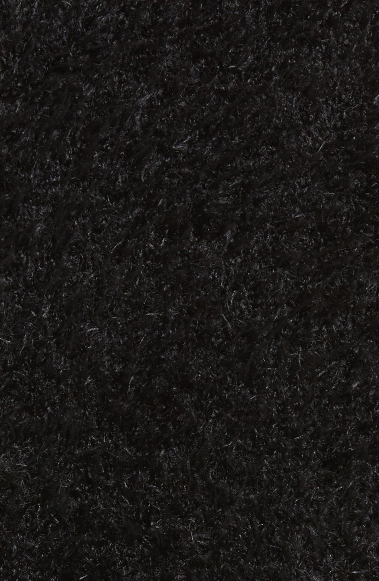 Fuzzy Surplice Sweater,                             Alternate thumbnail 5, color,                             Black