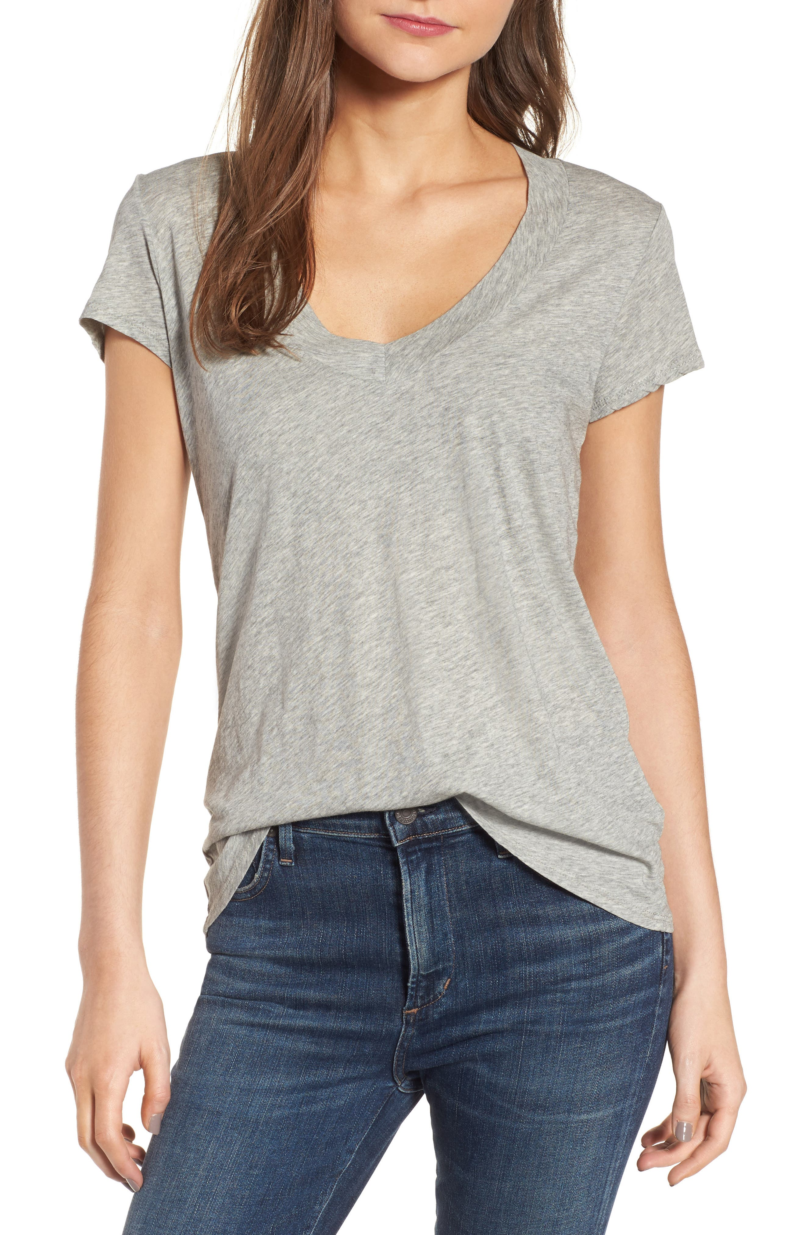 Relaxed V-Neck Tee,                         Main,                         color, Heather Grey
