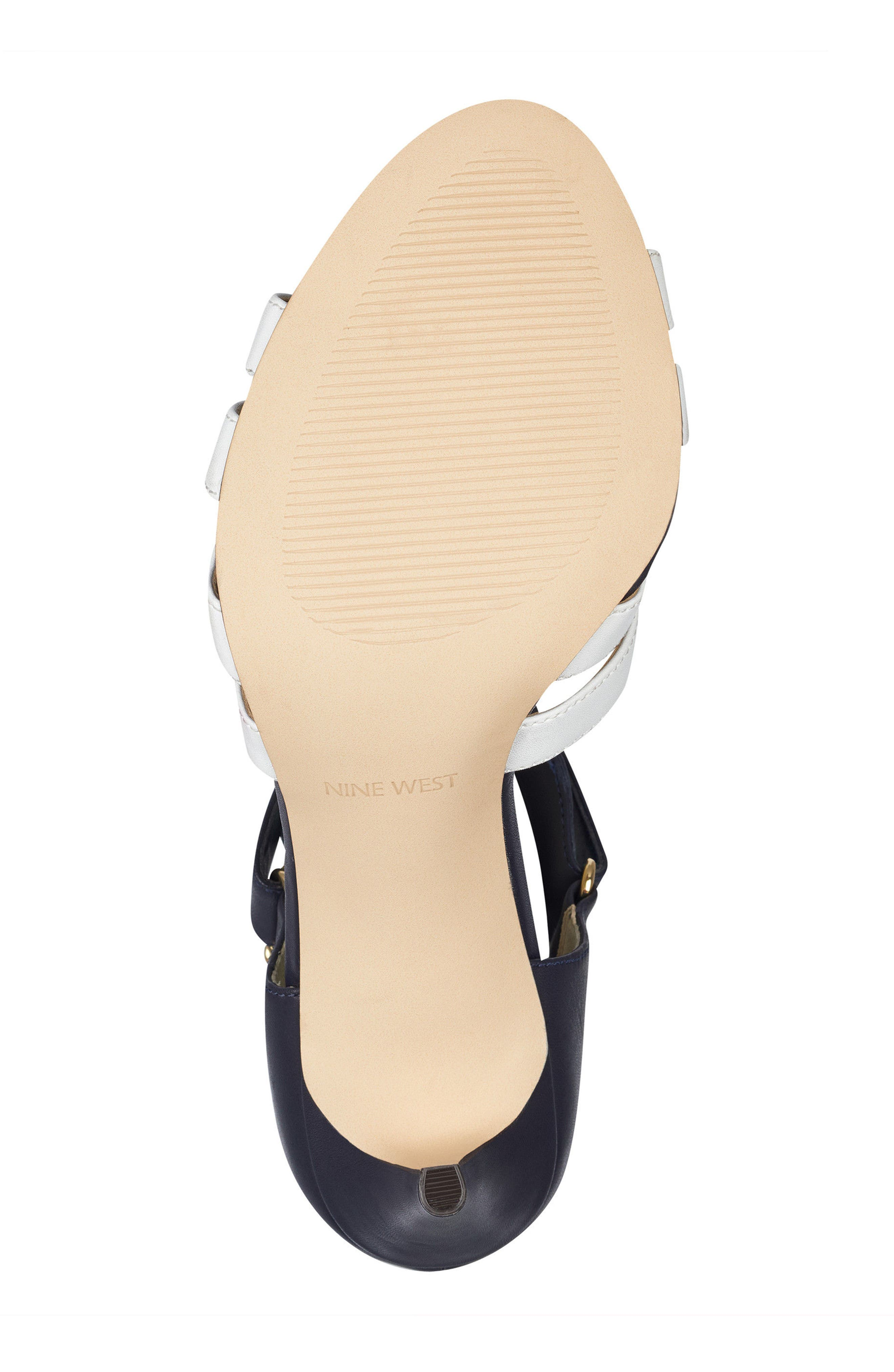 McGlynn Strappy Sandal,                             Alternate thumbnail 6, color,                             Navy/ White Leather