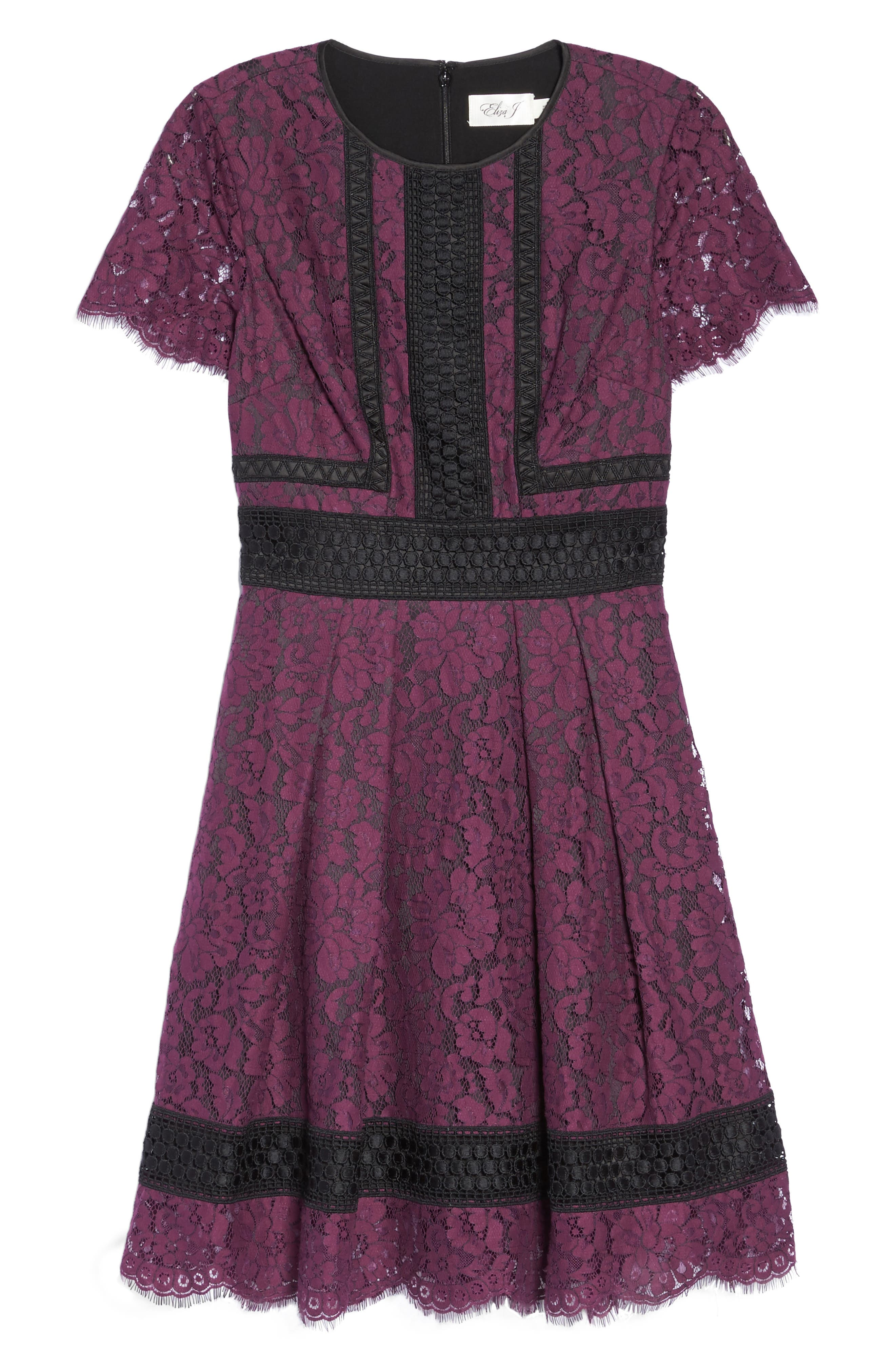 Lace Fit & Flare Dress,                             Alternate thumbnail 6, color,                             Raisin