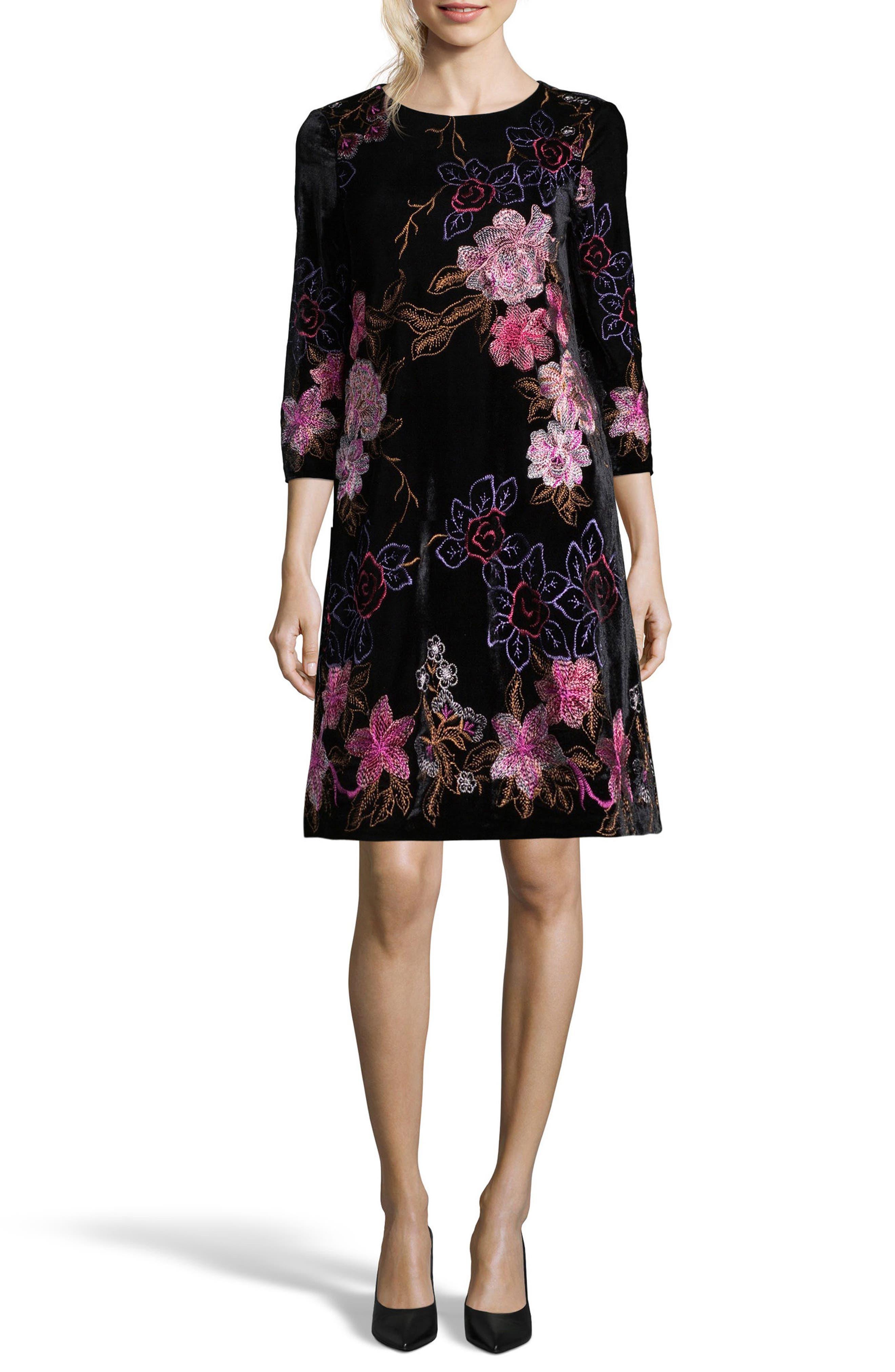 Main Image - ECI Embroidered Velvet Shift Dress