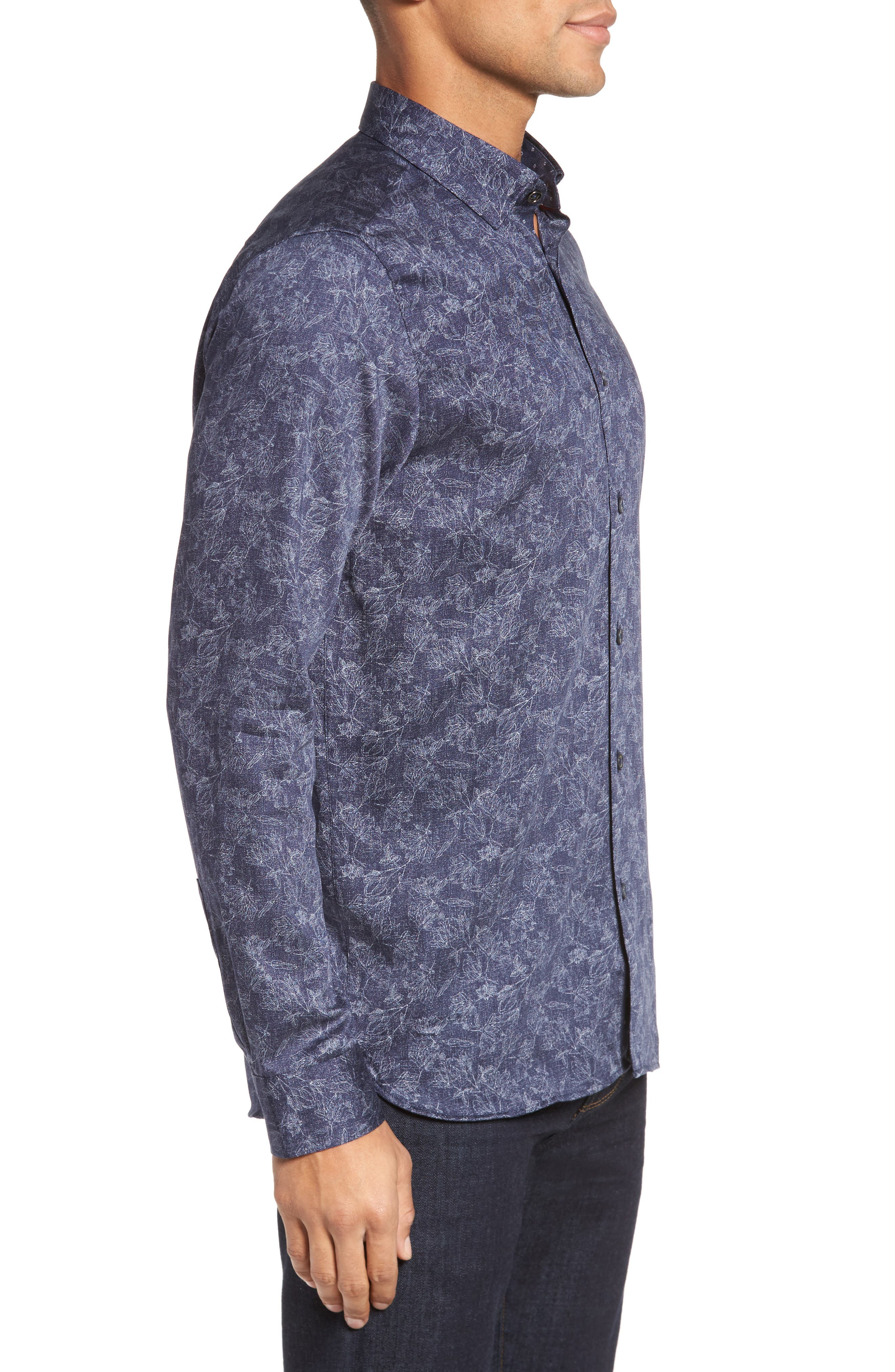 Marais Geo Print Sport Shirt,                             Alternate thumbnail 3, color,                             Blue