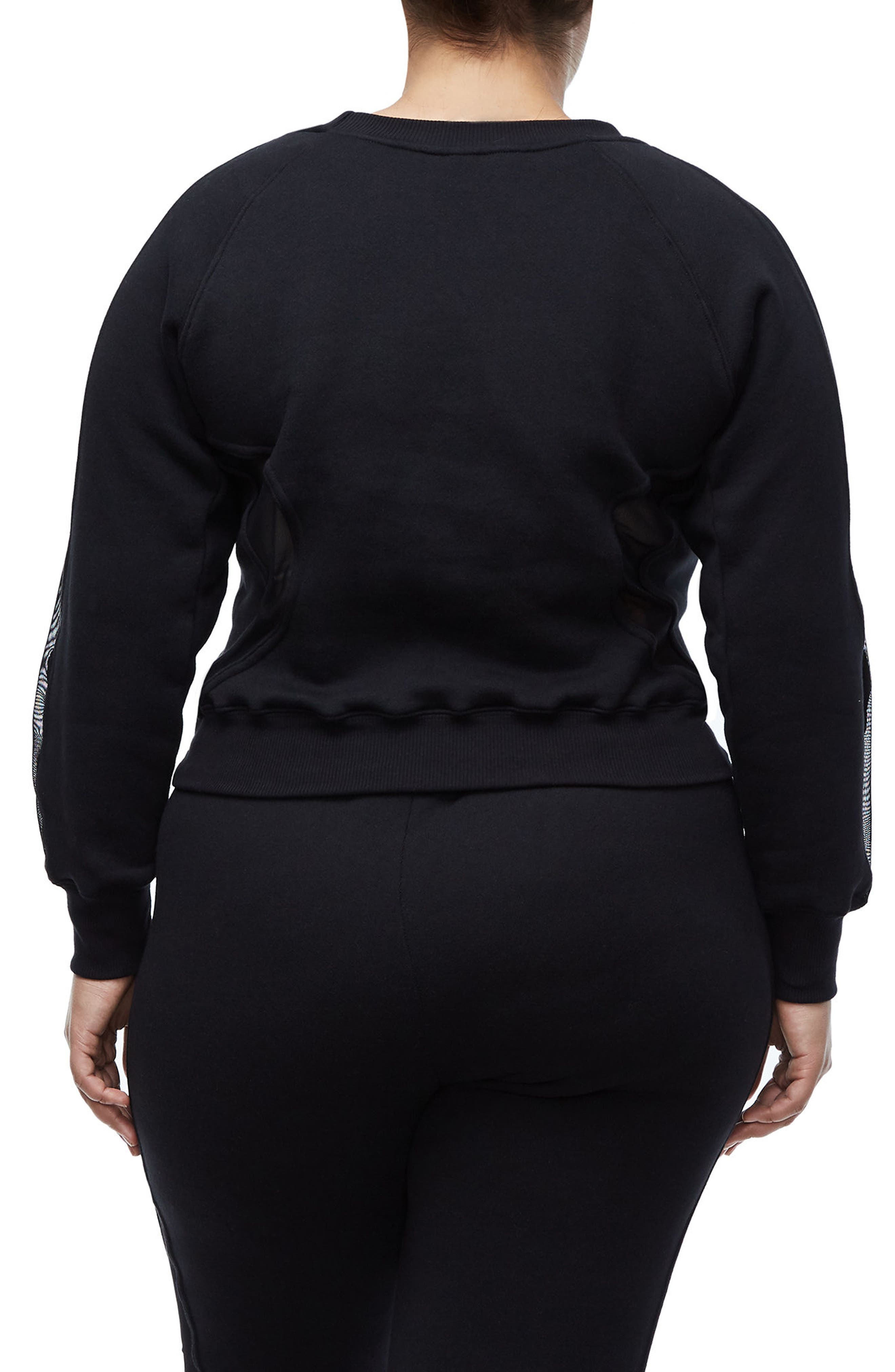 Good Sweats Mesh Inset Sweatshirt,                             Alternate thumbnail 4, color,                             Good Black