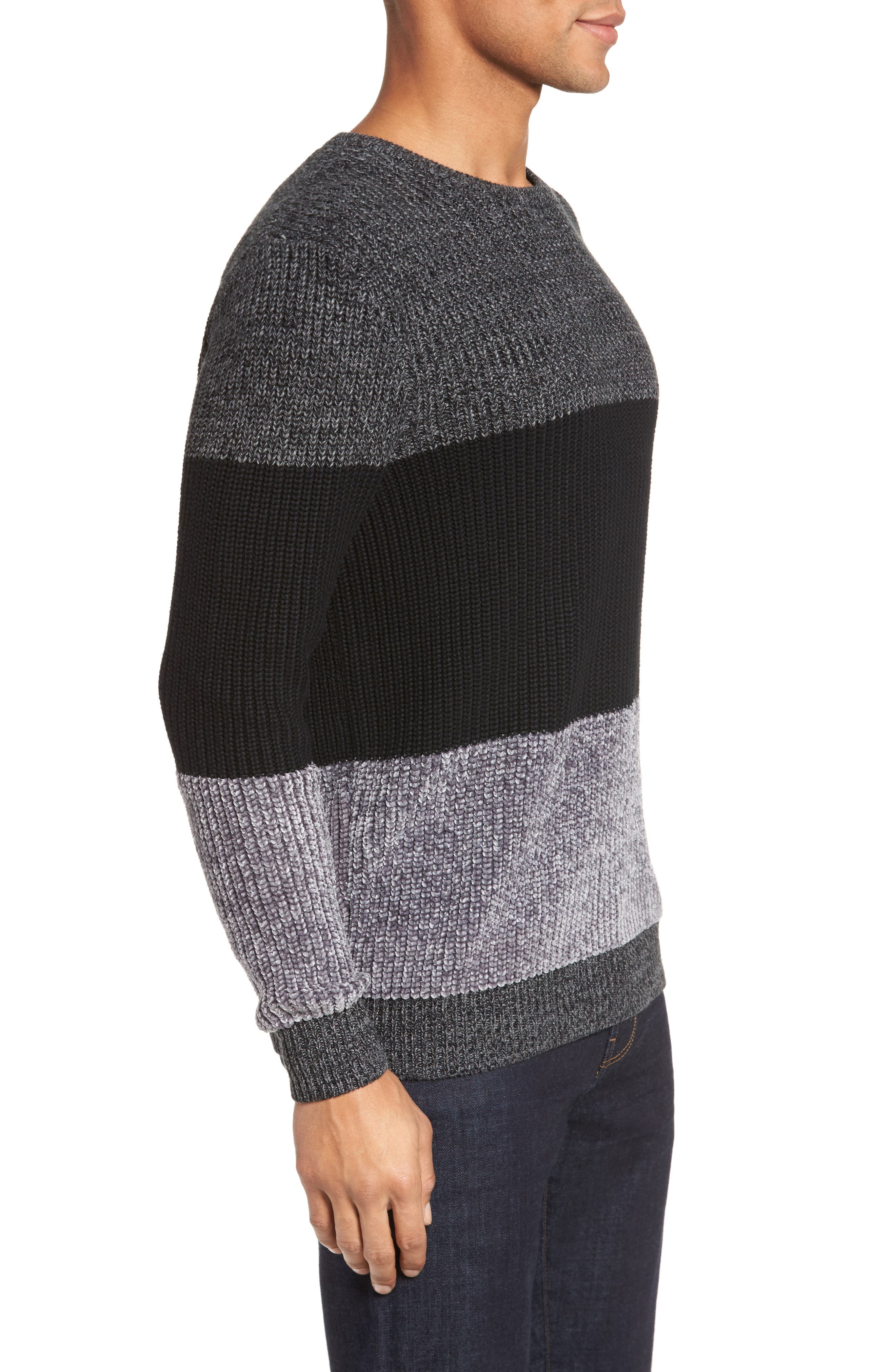 Colorblock Chenille Sweater,                             Alternate thumbnail 3, color,                             Heather Navy