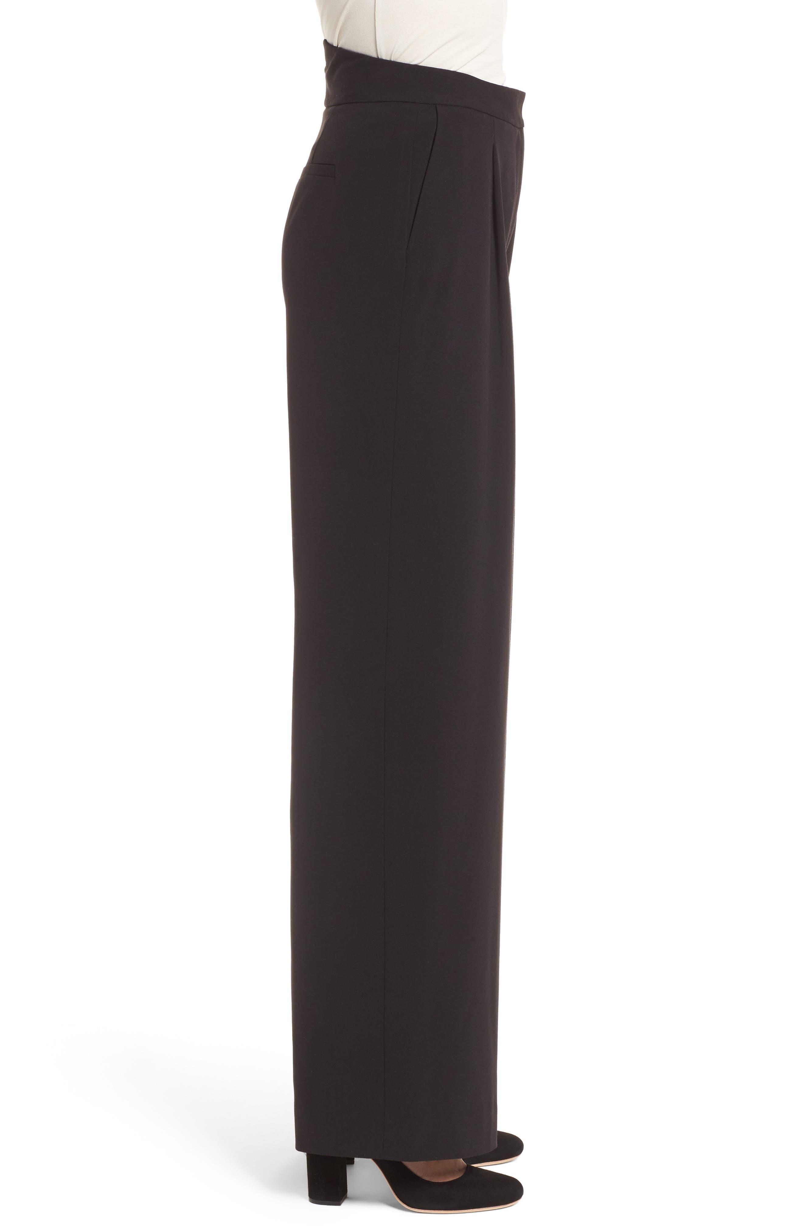 Notch Back Wide Leg Pants,                             Alternate thumbnail 3, color,                             Black