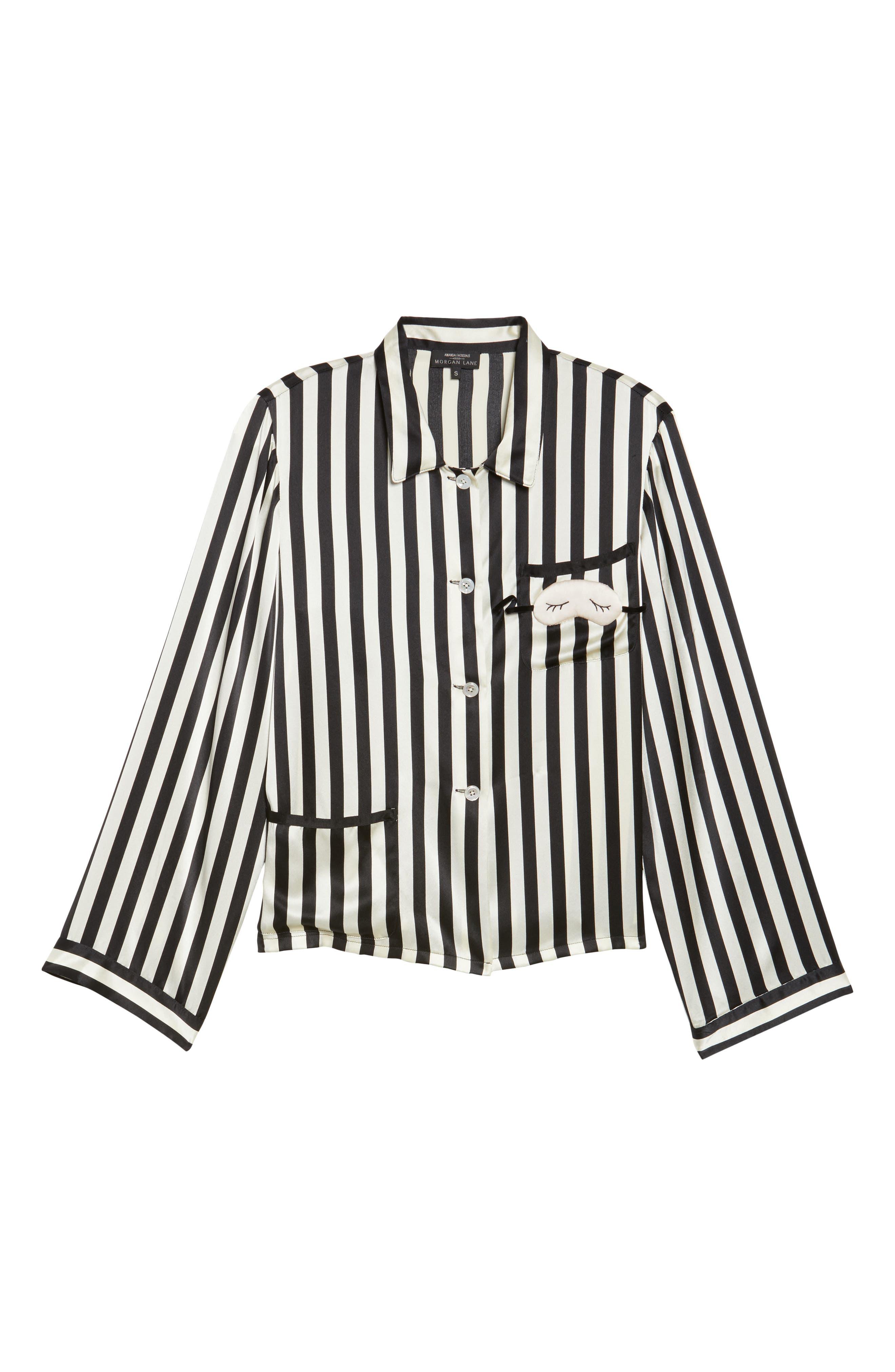 x Amanda Fatherazi Ruthie Mini Mask Stripe Pajama Top,                             Alternate thumbnail 4, color,                             Noir/ Ecru