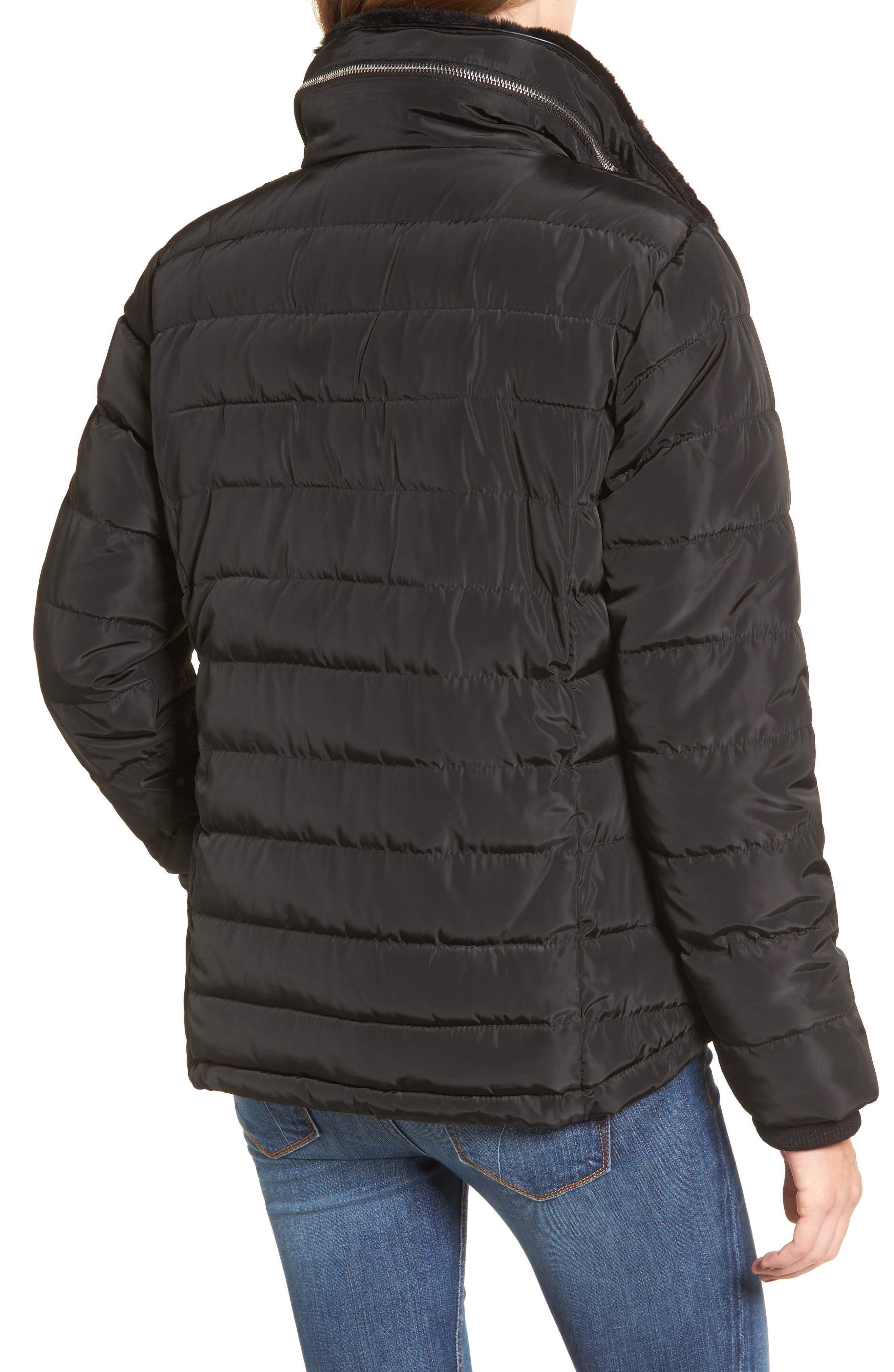 Puffer Jacket with Faux Fur,                             Alternate thumbnail 2, color,                             Black