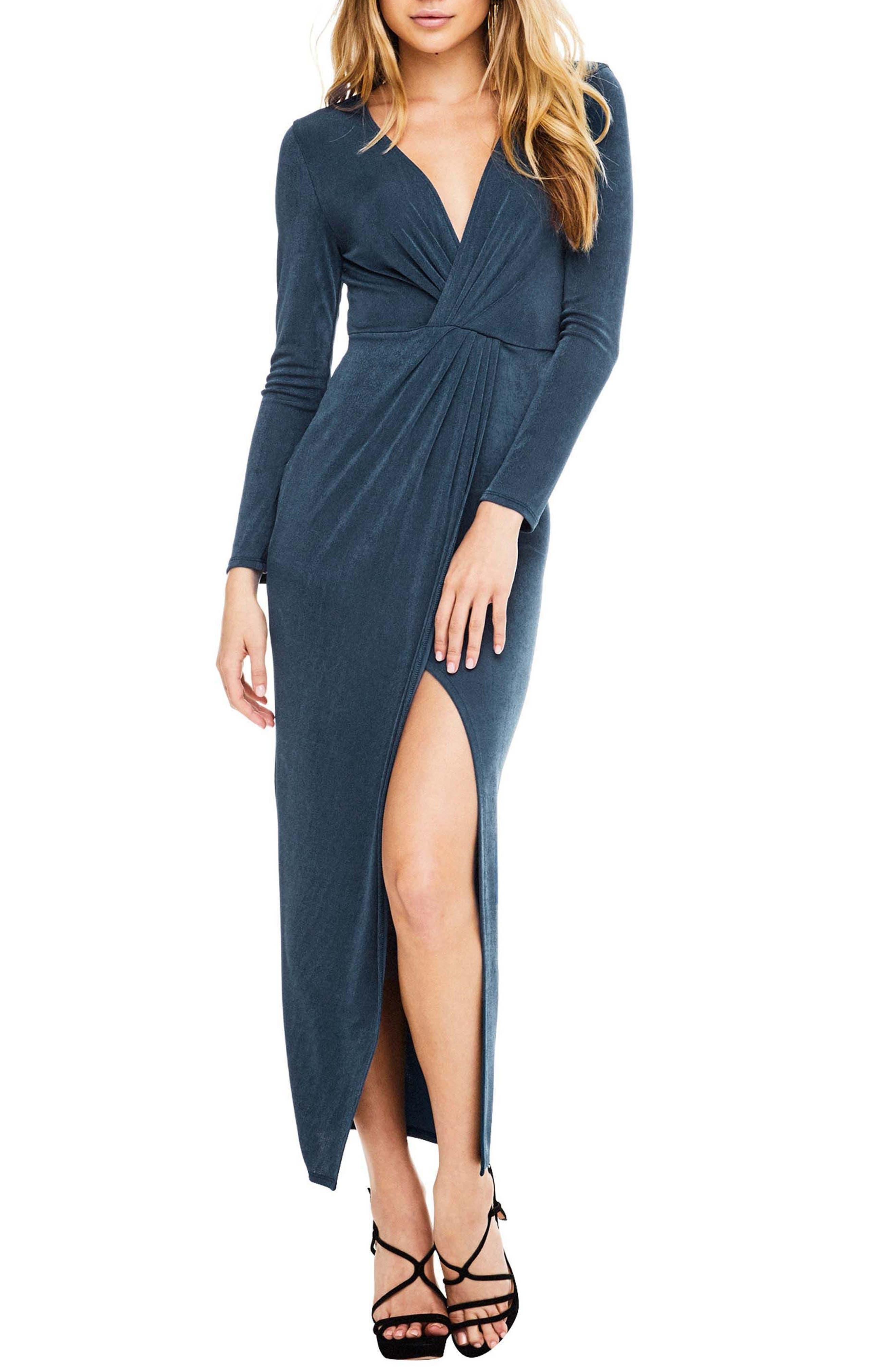 Valerie Faux Wrap Dress,                         Main,                         color, Teal