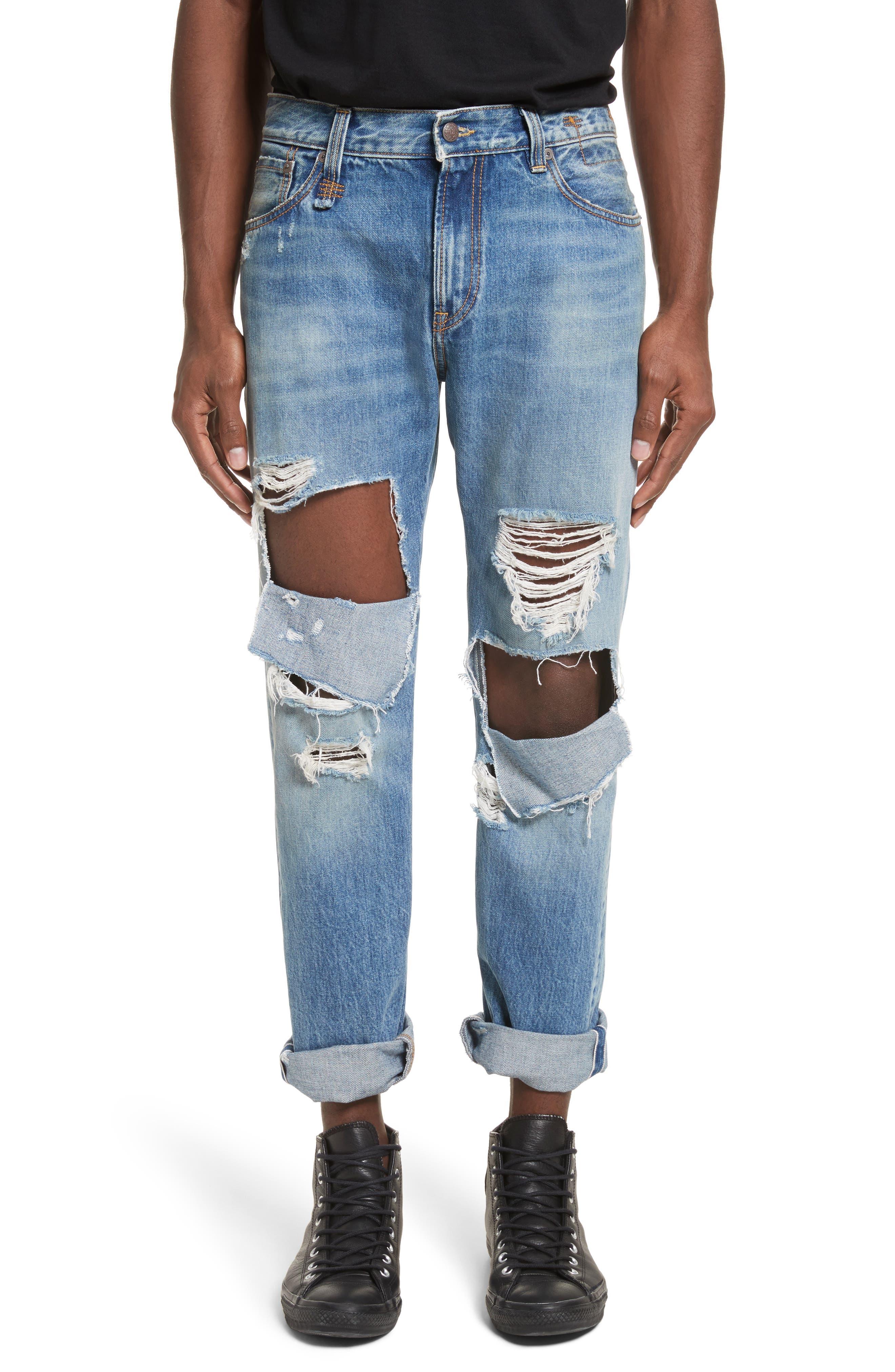 Sid Distressed Cutoff Straight Leg Jeans,                         Main,                         color, Jasper Selvege W Rips