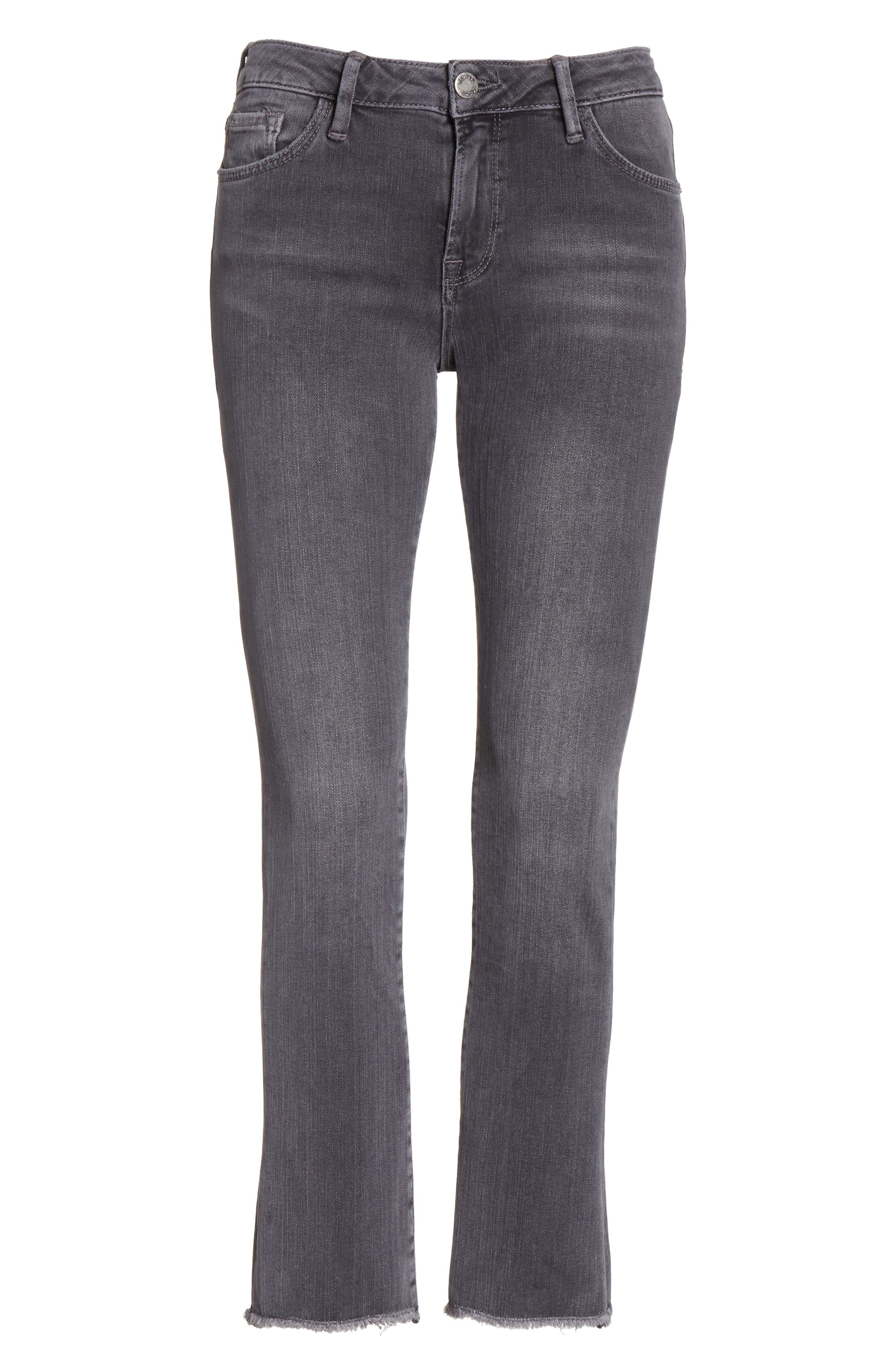 Crop Straight Leg Jeans,                             Alternate thumbnail 6, color,                             Black