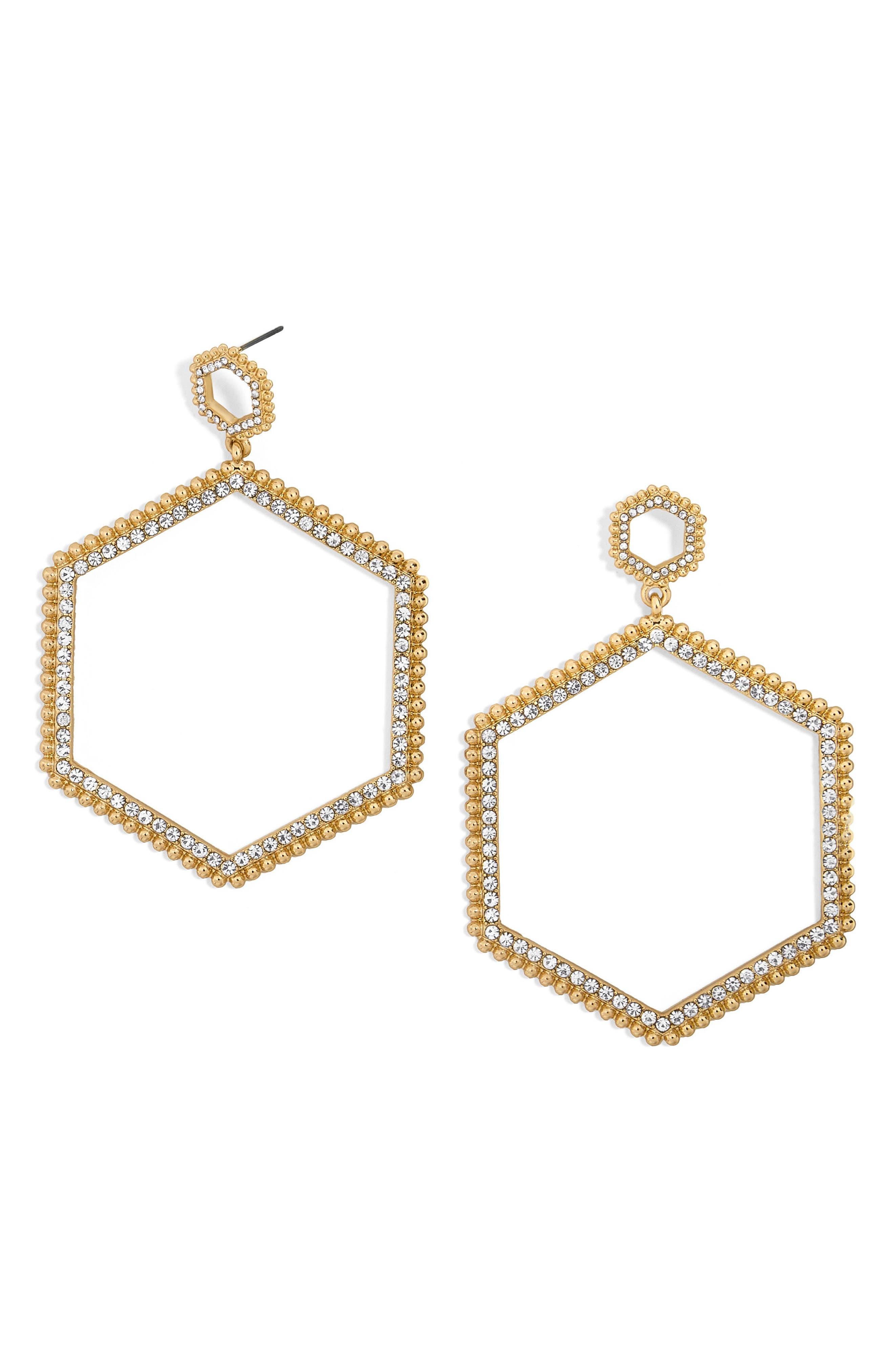 Hexagonal Hoop Earrings,                             Main thumbnail 1, color,                             Gold