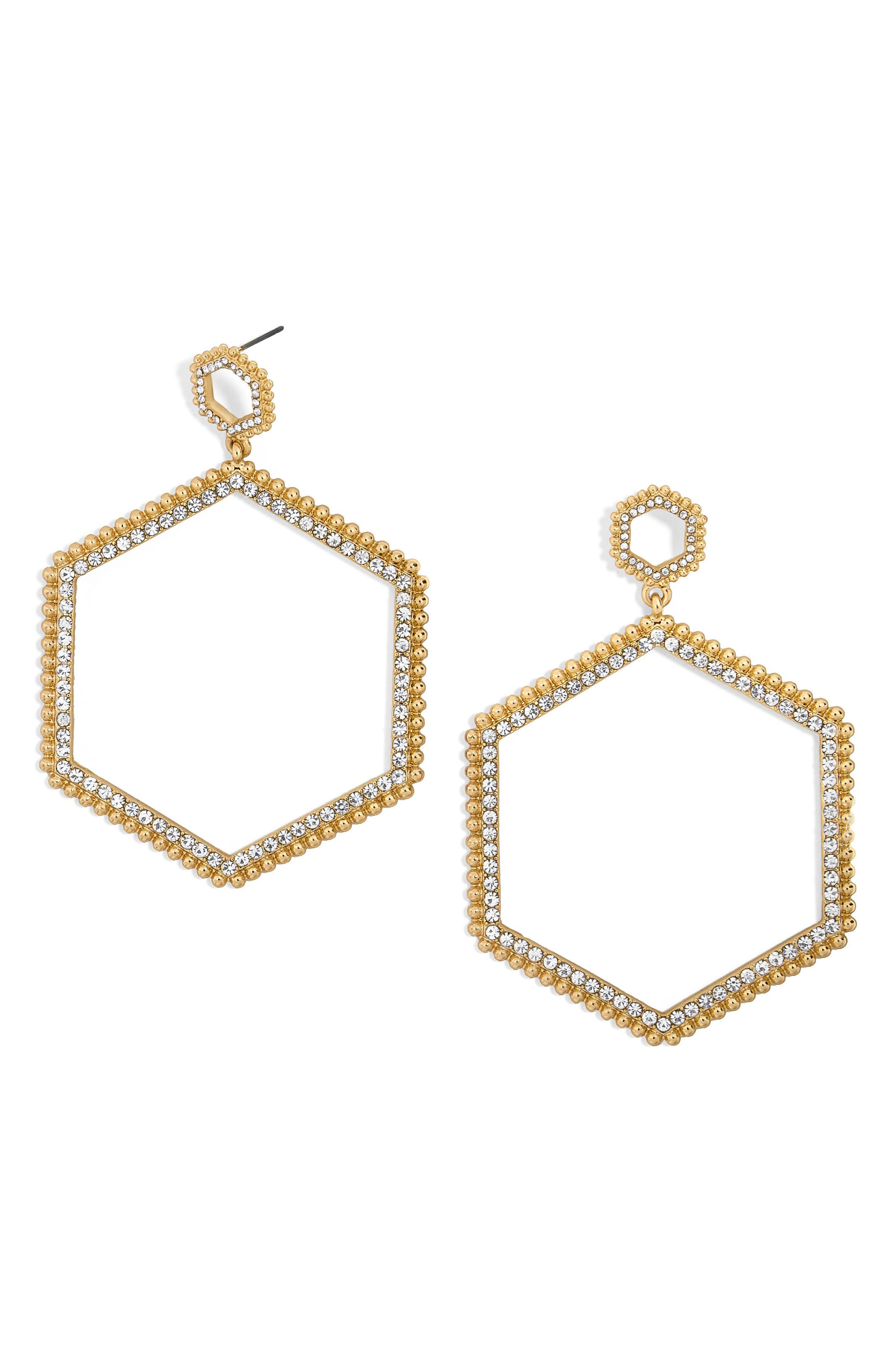 Hexagonal Hoop Earrings,                         Main,                         color, Gold
