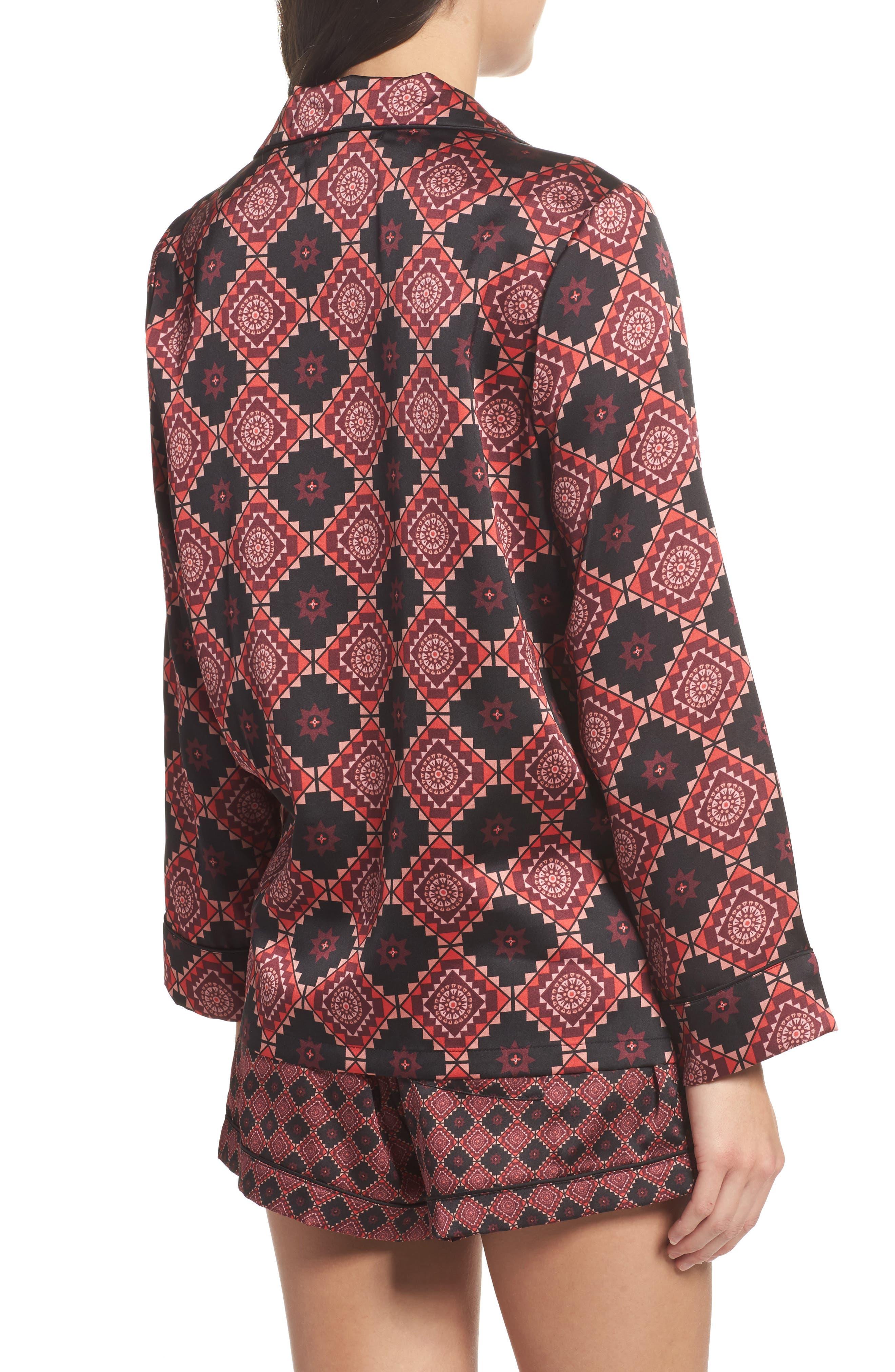 Short Pajamas & Eye Mask Set,                             Alternate thumbnail 2, color,                             Large Windsor Wine Aztec